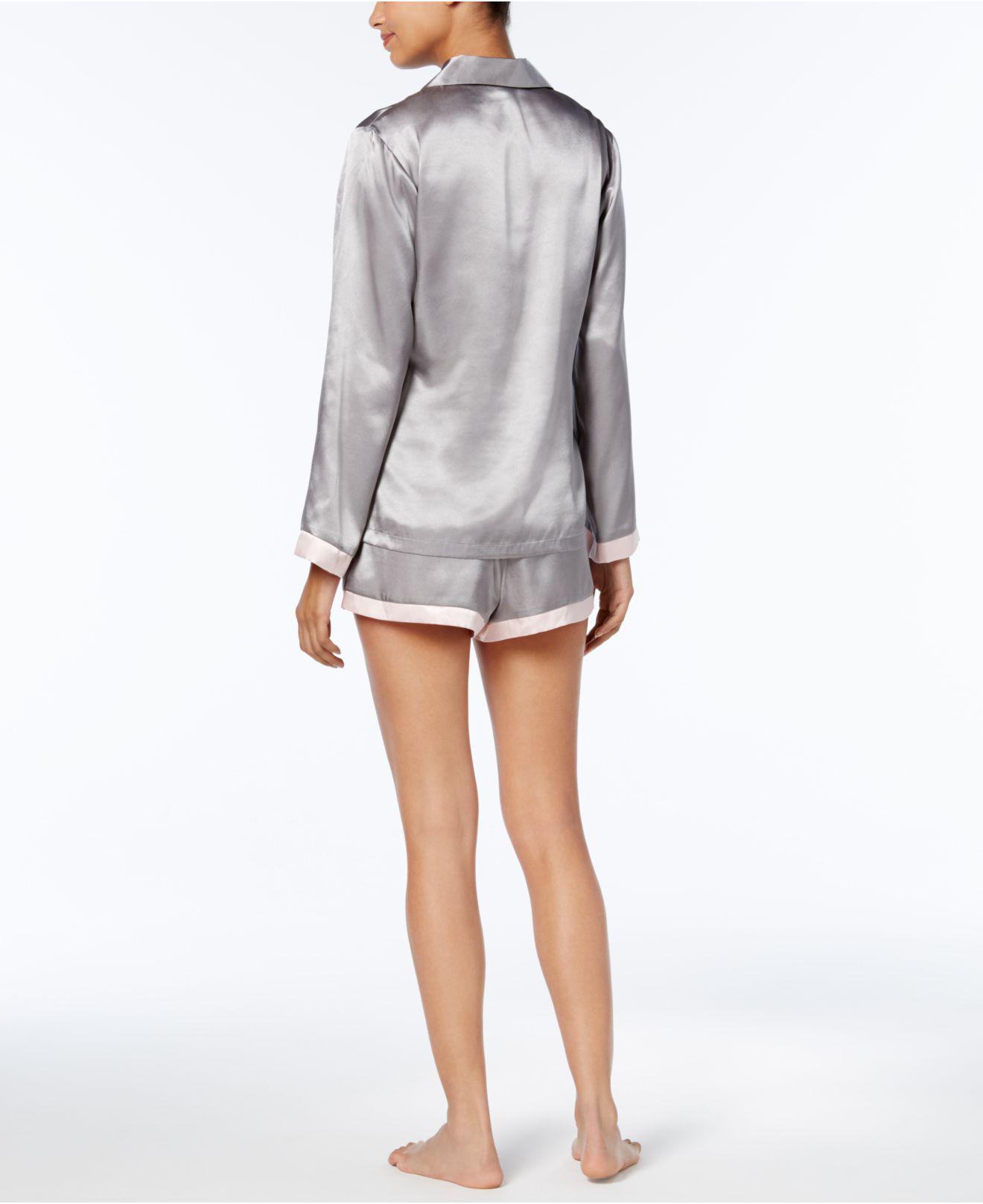 a324aa9b83 Lyst - Linea Donatella Satin Pinstripe Pajama Set in Gray