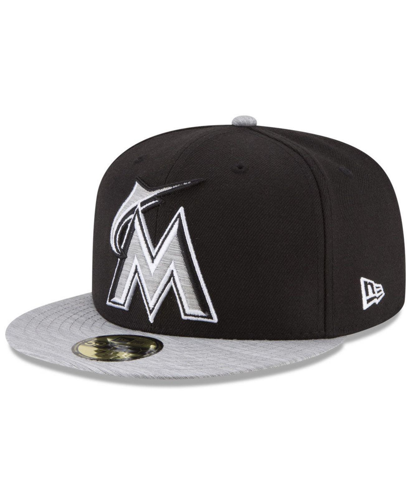 quality design 74641 7fdcb ... official store ktz miami marlins black heather 59fifty fitted cap for men  lyst. view fullscreen