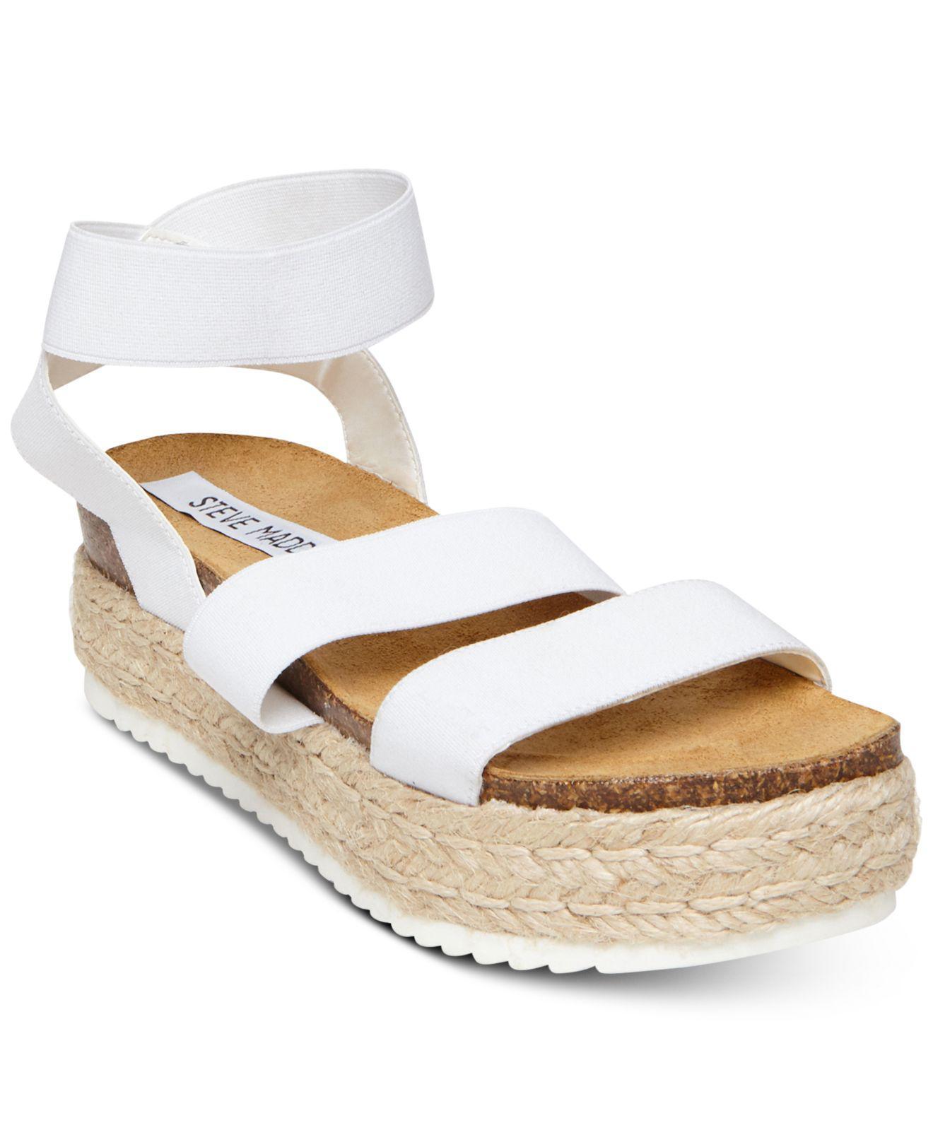 ac4f992ed04 Lyst - Steve Madden Kimmie Flatform Espadrille Sandals in White