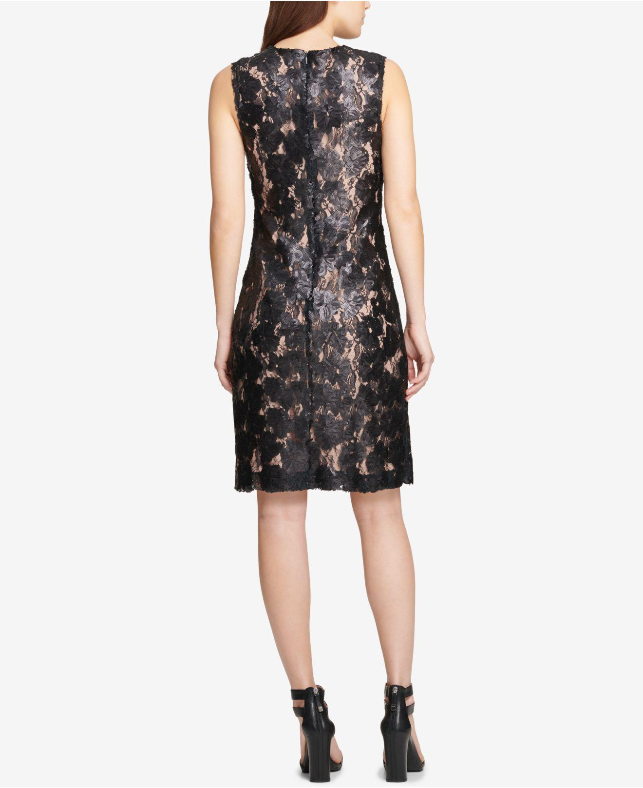 Lyst Dkny Sequinned Lace Sheath Dress Created For Macys