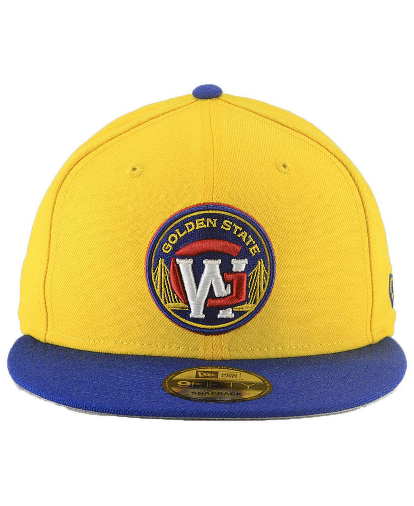 sports shoes f10af d3162 ... free shipping buy lyst ktz golden state warriors light city combo  9fifty snapback cap in yellow