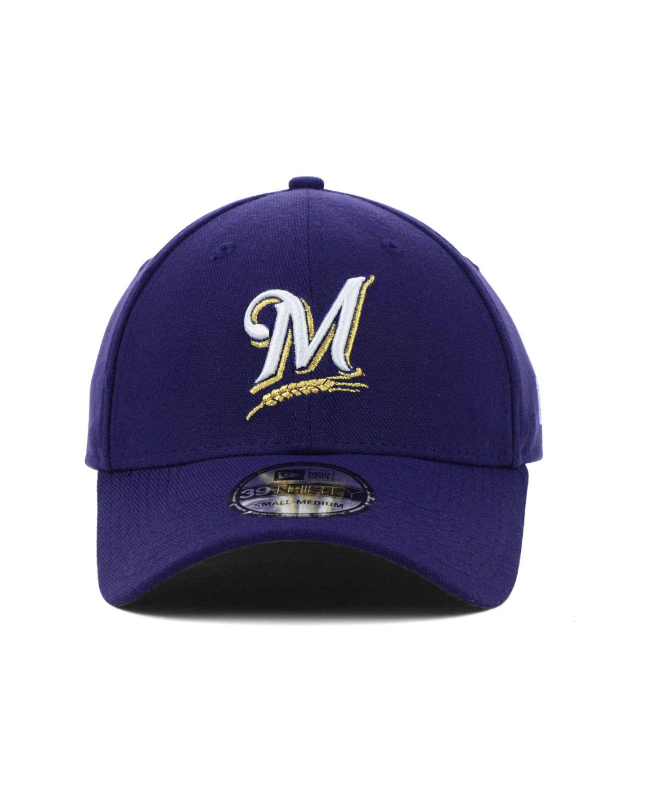 promo code 87f7d 452ec ... free shipping lyst ktz milwaukee brewers mlb team classic 39thirty cap  in blue for men 49343