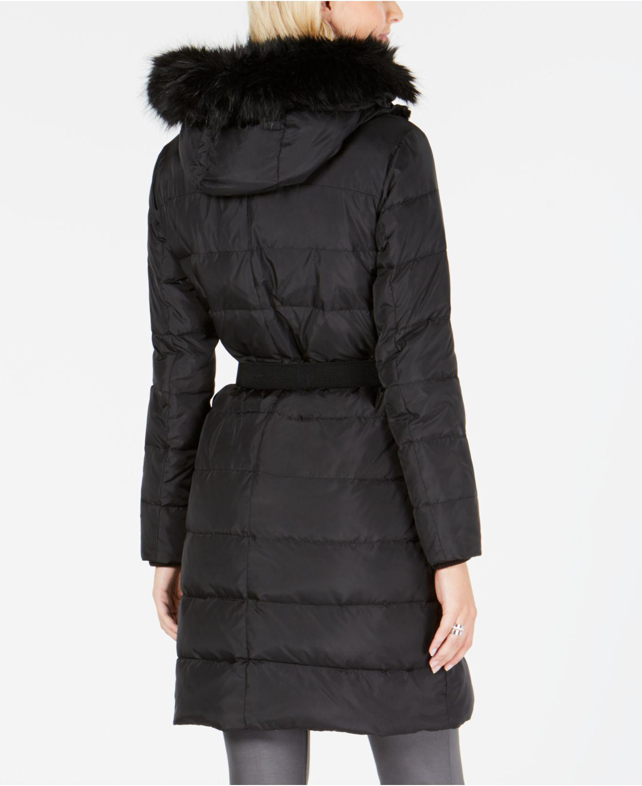 15ff5c555c7e Michael Kors Michael Faux-fur-trim Hooded Belted Puffer Coat in Black - Lyst