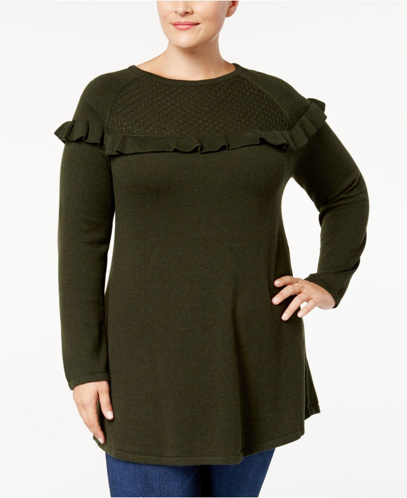 Style & co. Plus Size Ruffled Tunic Sweater in Green | Lyst
