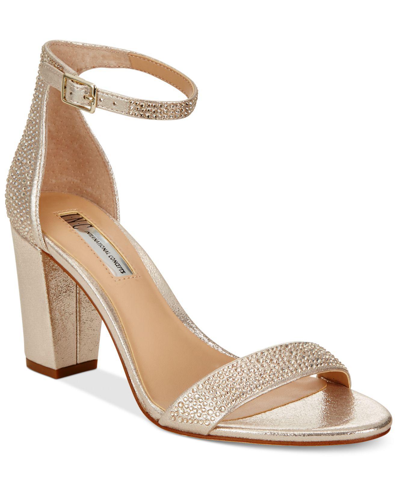 0c27adc9662a1c INC International Concepts. Women s Metallic Kivah Block-heel Dress Sandals