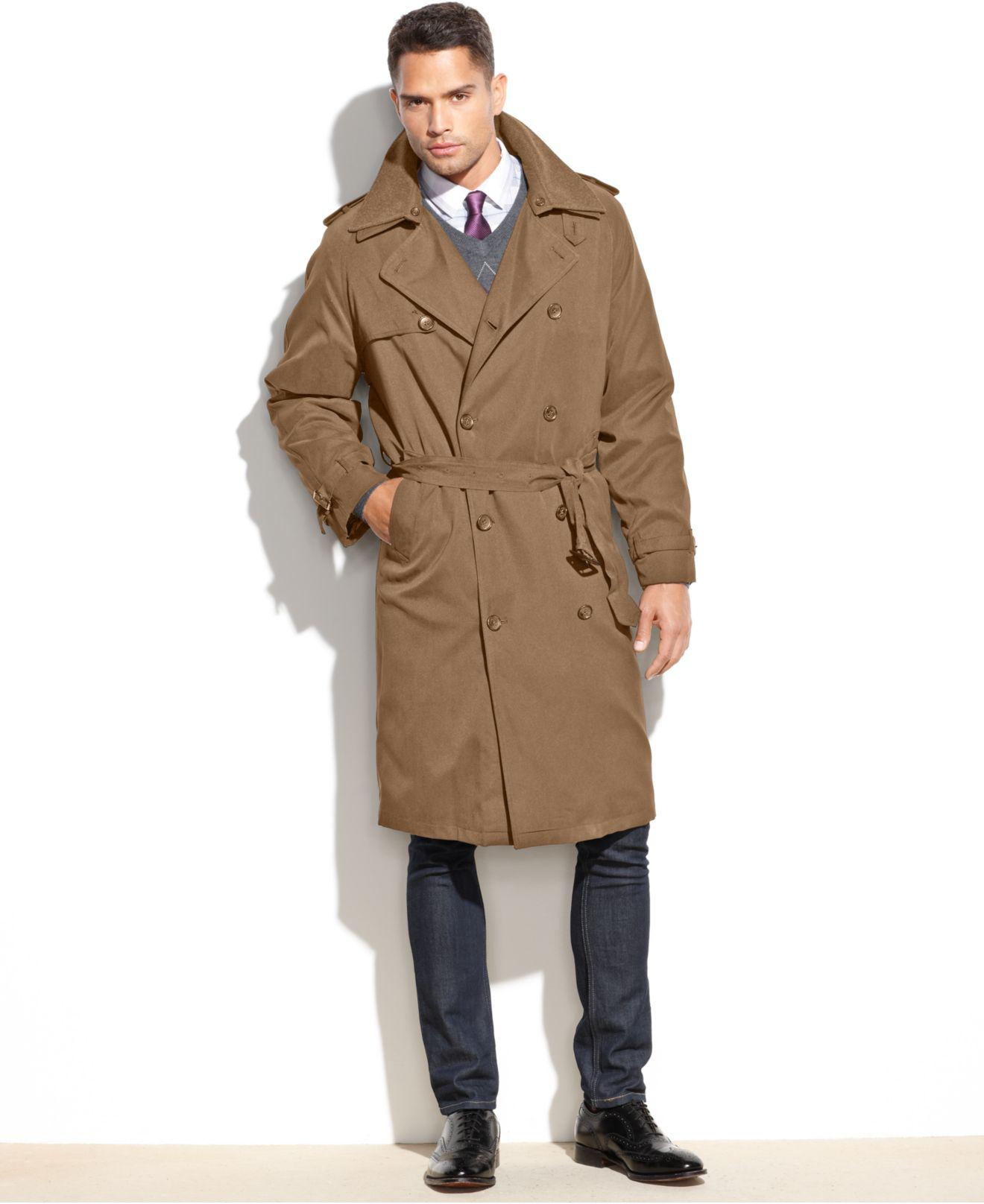 London Fog Coat Iconic Belted Trench Raincoat In Natural