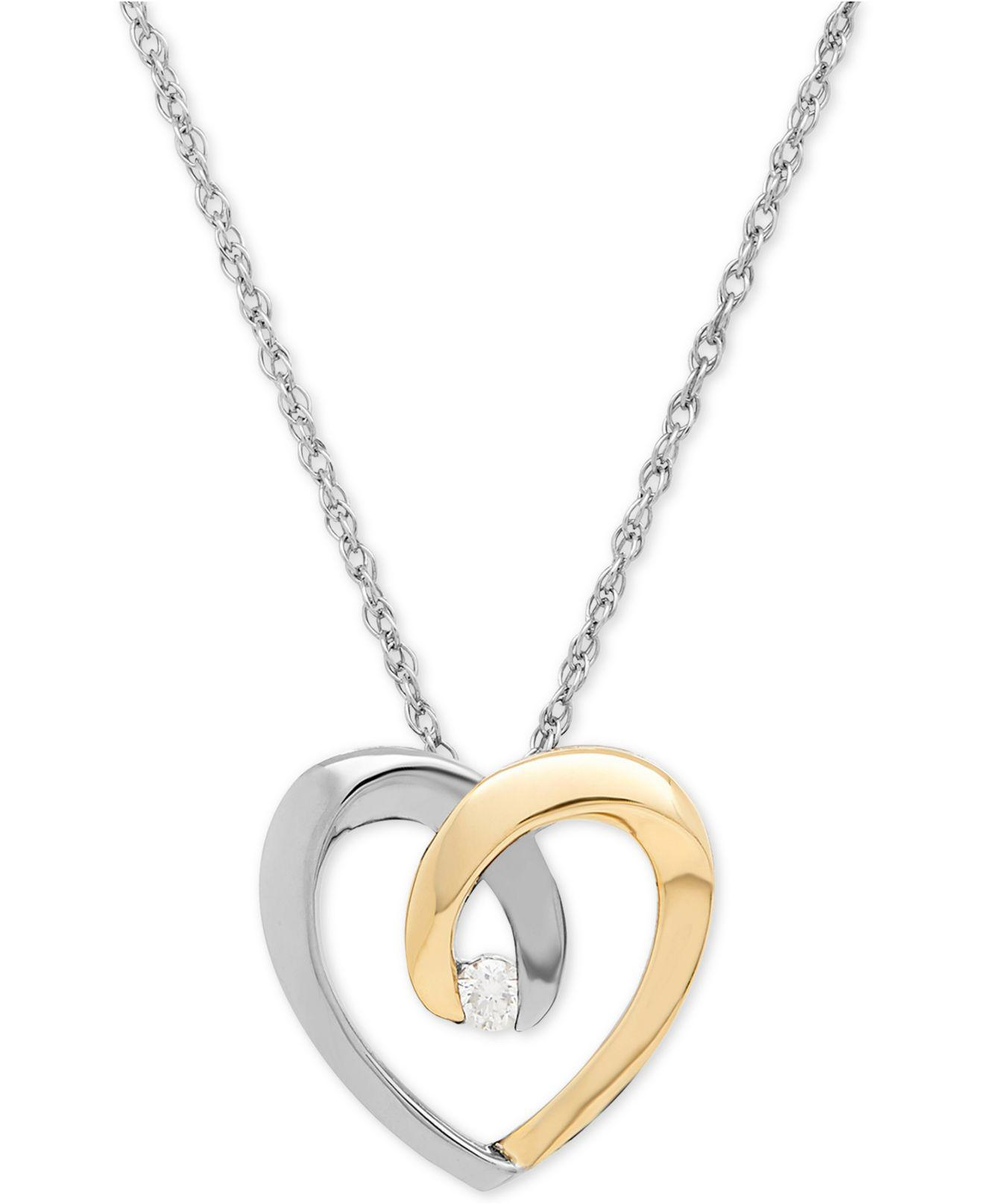 Lyst macys diamond accent heart pendant necklace in sterling macys womens metallic diamond accent heart pendant aloadofball Image collections