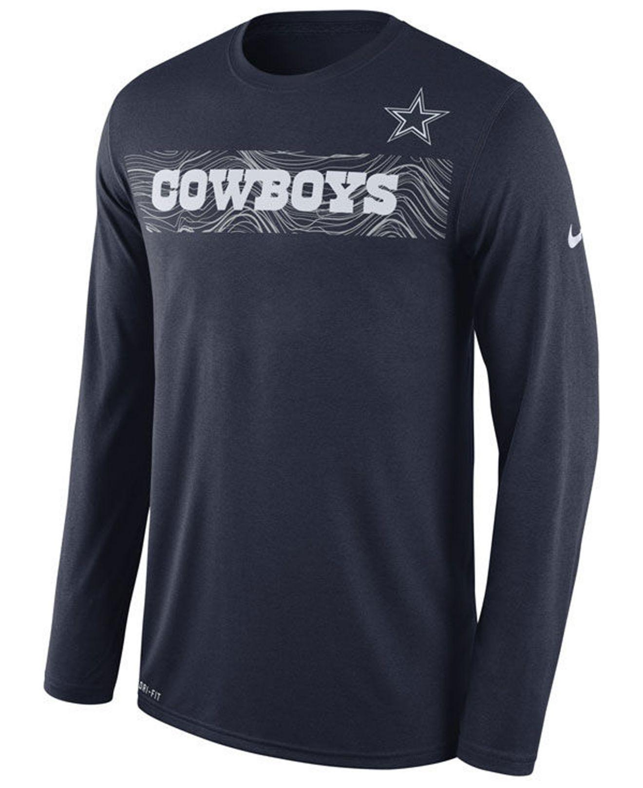 Nike. Men s Blue Dallas Cowboys Legend On-fileld Seismic Long Sleeve T-shirt 60c55a596