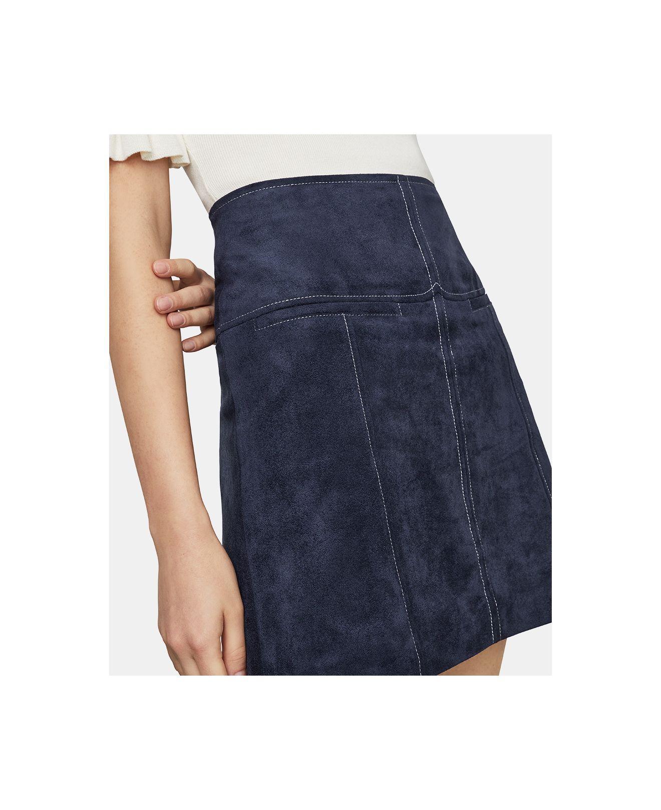 daacd8fc79 Lyst - BCBGMAXAZRIA Faux Suede Mini Skirt in Blue