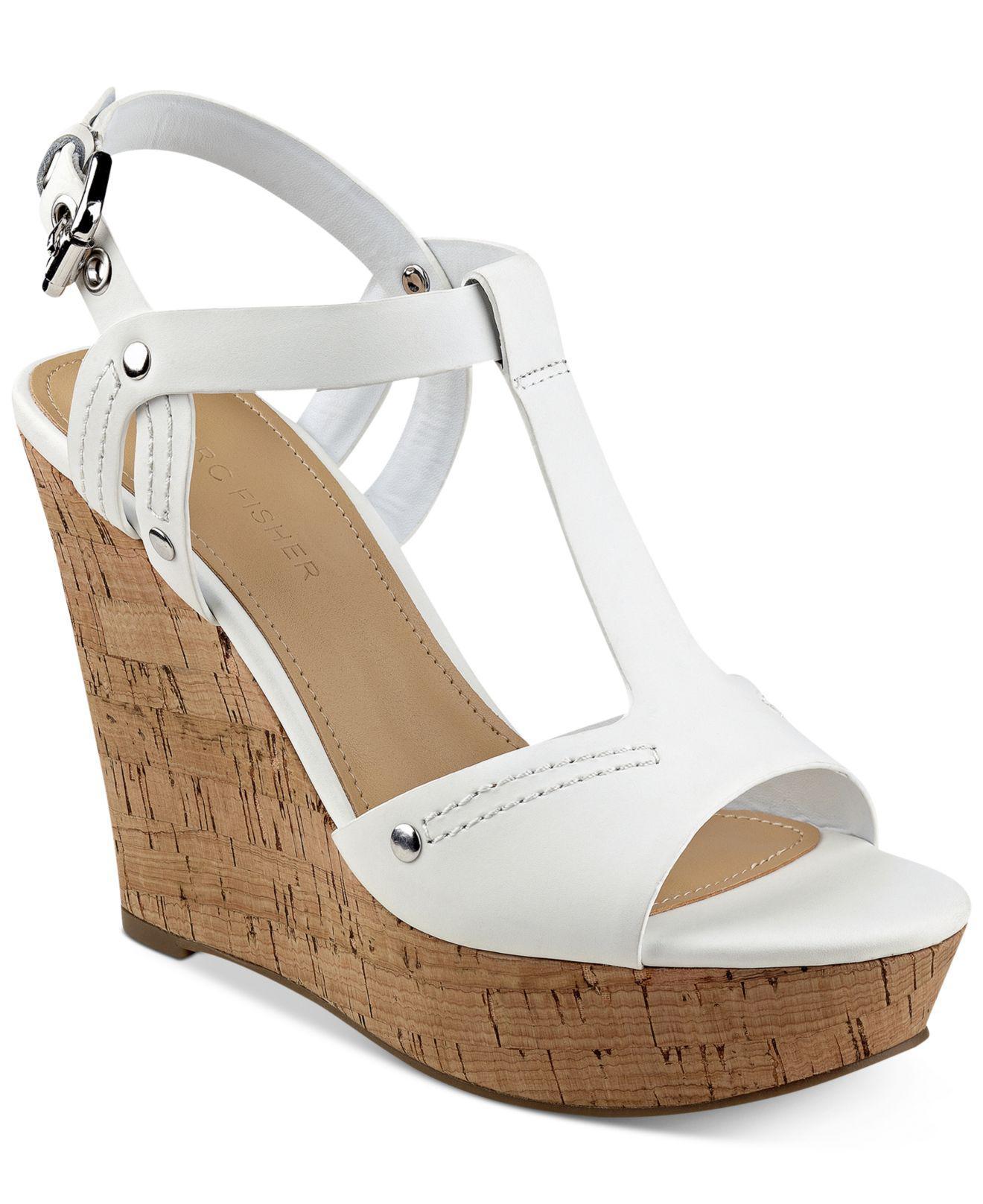 34683ccd10c Lyst - Marc Fisher Helma Platform Wedge Sandals in White