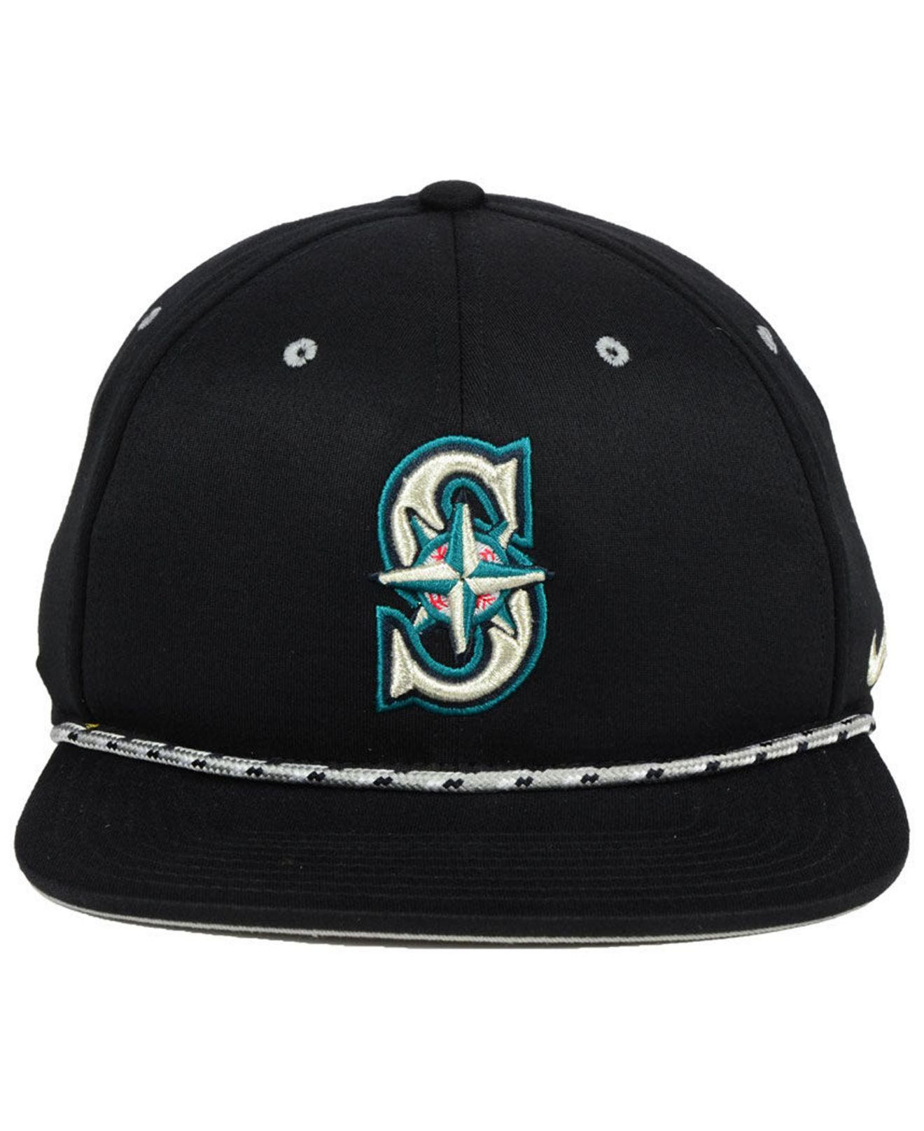 best service 6ff1d bd3e2 ... clearance lyst nike seattle mariners string bill snapback cap in black  for men d79cc 32cb0