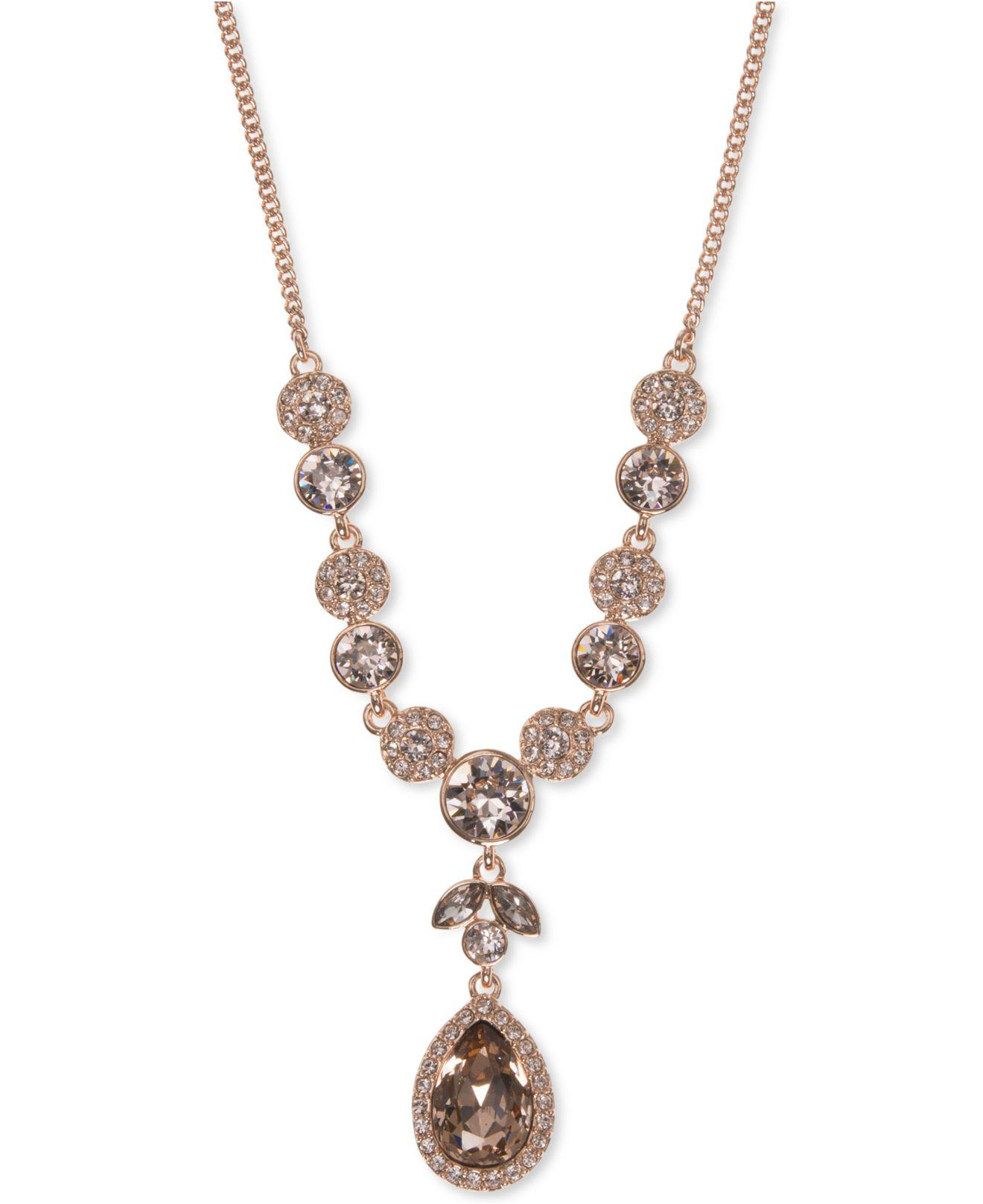 601a6871410b98 Givenchy Rose Gold And Swarovski Crystal Pendant Necklace - Pendant ...