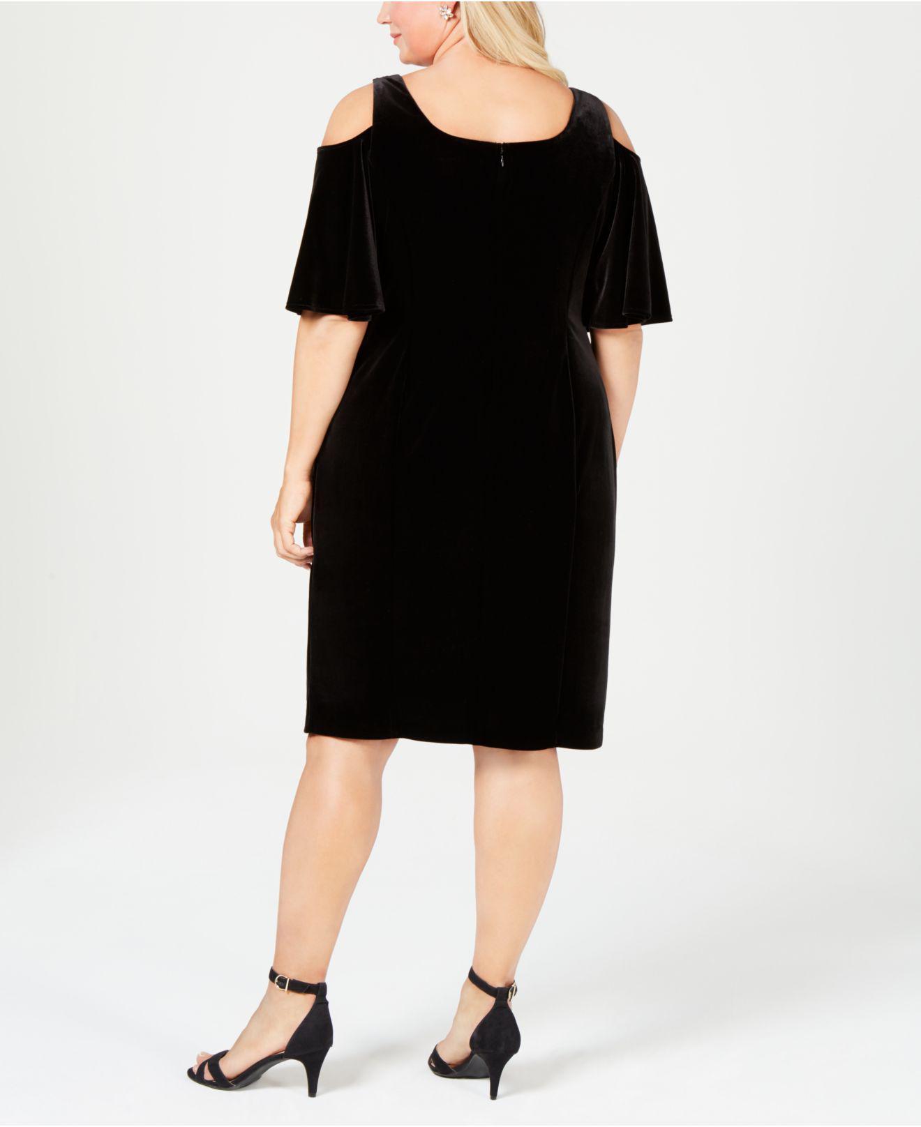 a1e5973b04d Lyst - Alex Evenings Plus Size Cold-shoulder Velvet Dress in Black