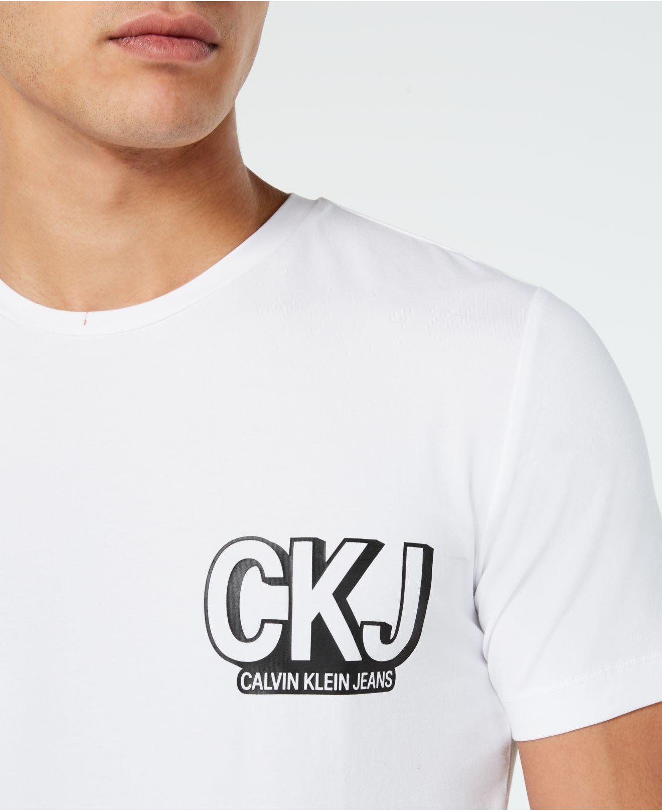 c833c562a629 Lyst - Calvin Klein Slim-fit Logo Graphic T-shirt in White for Men
