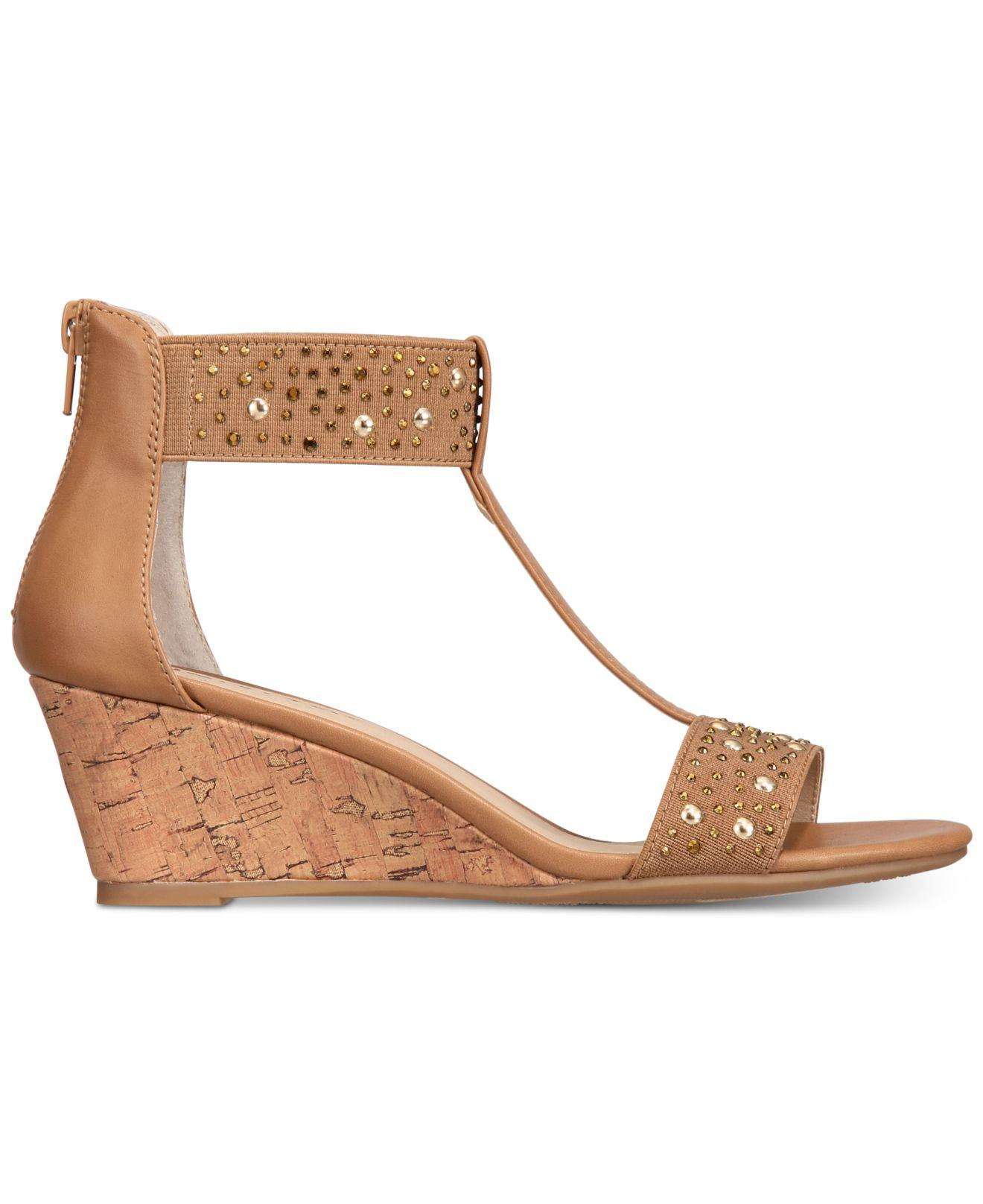 cc7552c1336 Lyst - Rialto Cleo Embellished Wedge Sandals in Natural