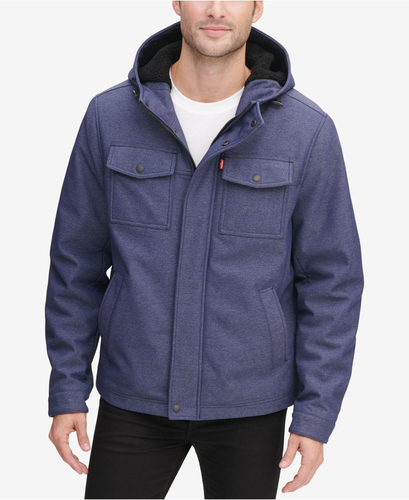 d1bde92fcce Levis denim blue soft shell hooded trucker jacket with sherpa fleece lining  jpg 1320x1616 Levis fleece