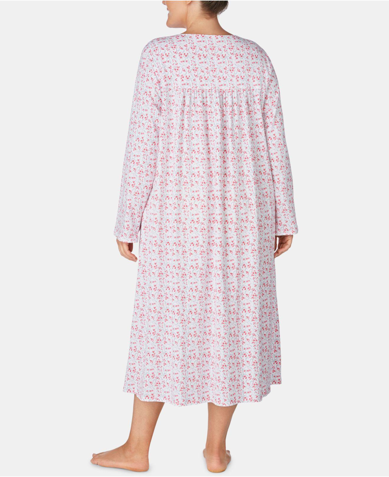 ce56dbc037 Lyst - Eileen West Plus Size Cotton Printed Ballet Nightgown in Pink