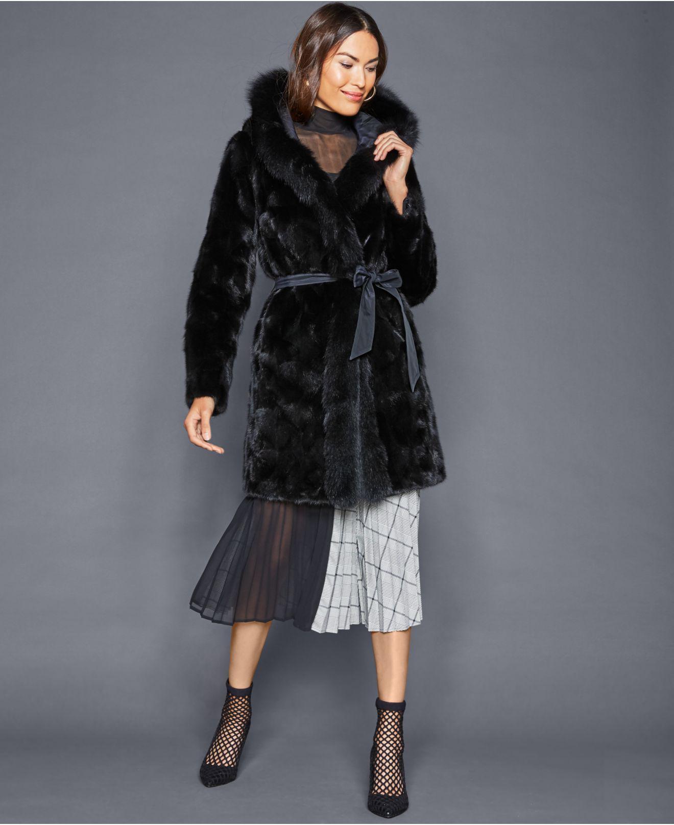 0b6aa1dcdad Lyst - The Fur Vault Reversible Mink Fox-trim Coat in Black