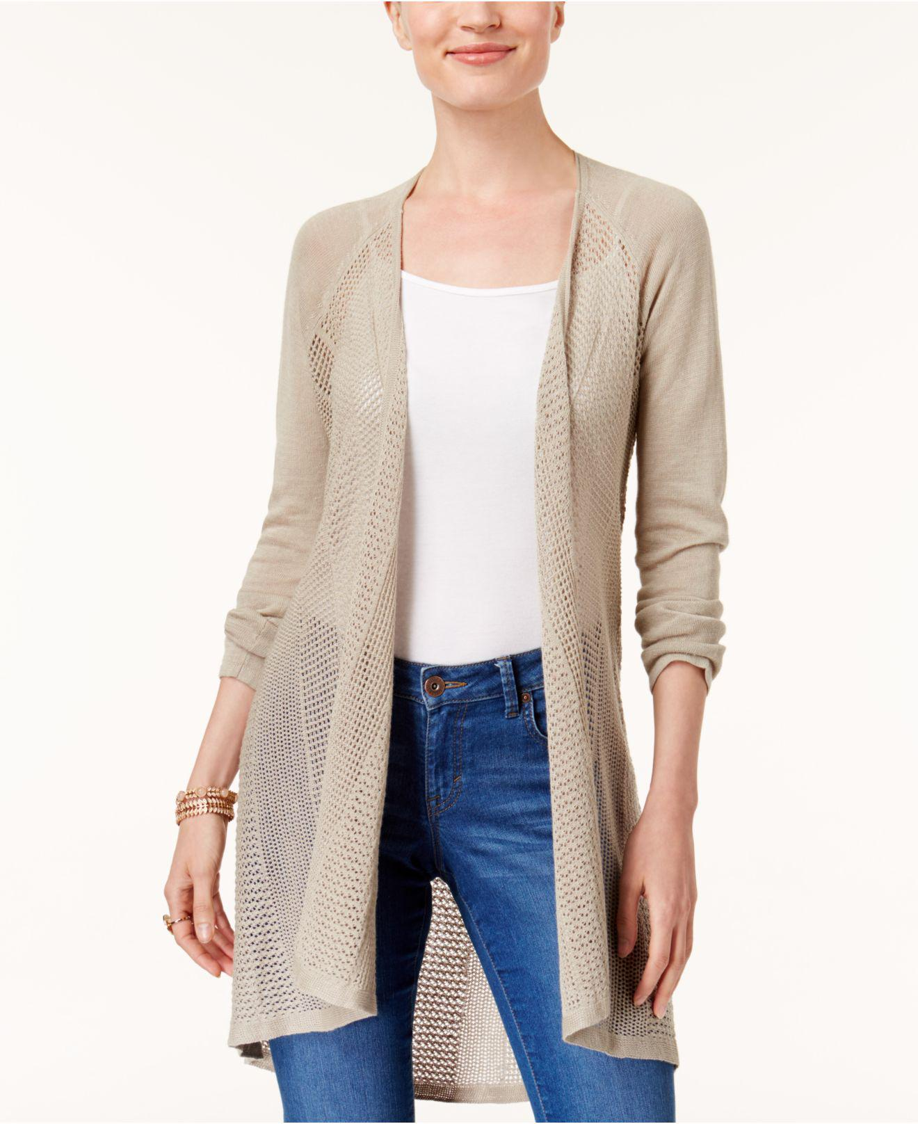 Style & co. Petite Pointelle Duster Cardigan | Lyst