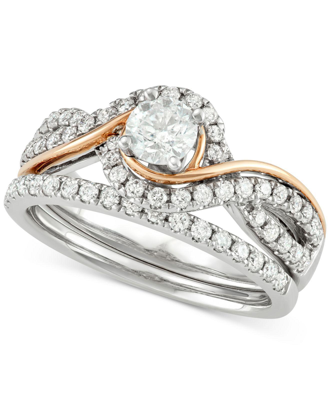 Macy s Diamond Two tone Overlap Bridal Set 7 8 Ct T w In 14k