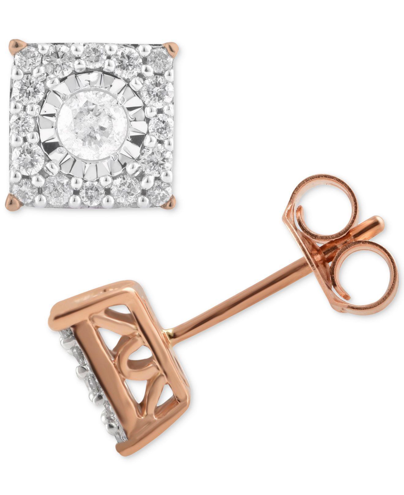 efad48dc7 Lyst - Macy's Diamond Cluster Stud Earrings (1/3 Ct. T.w.) In 14k ...
