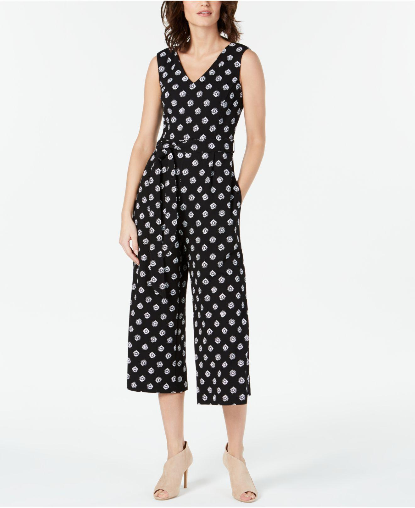 f415f366858 Lyst - Calvin Klein Printed Cropped Sleeveless Jumpsuit in Black