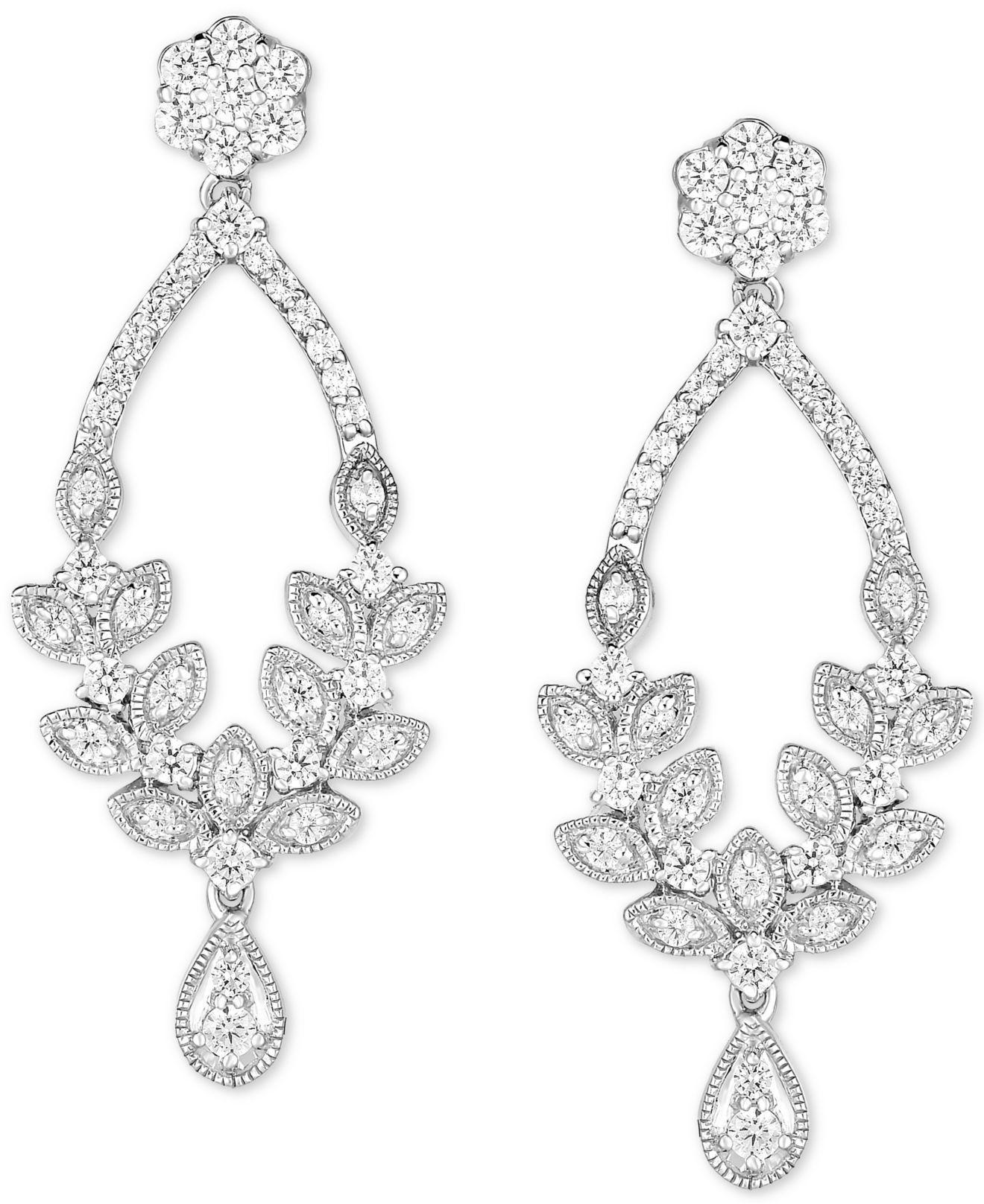 Diamond Chandelier Earrings 1 Ct T W In 14k White Gold View Fullscreen