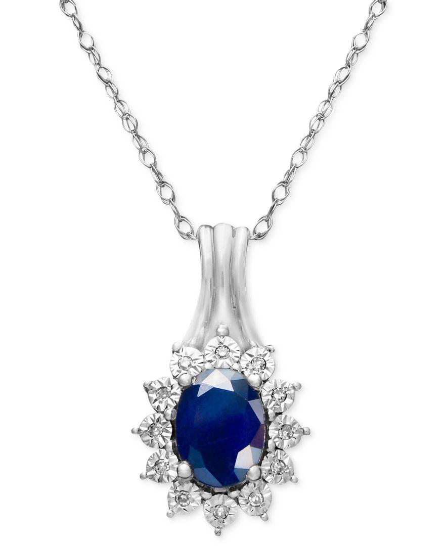 macys jewelry sale macy s sapphire 9 10 ct t w and accent pendant 4458