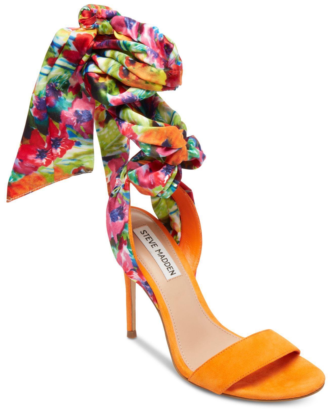e57e36ccc984 Lyst - Steve Madden Oasis Tie-up Dress Sandals in Orange