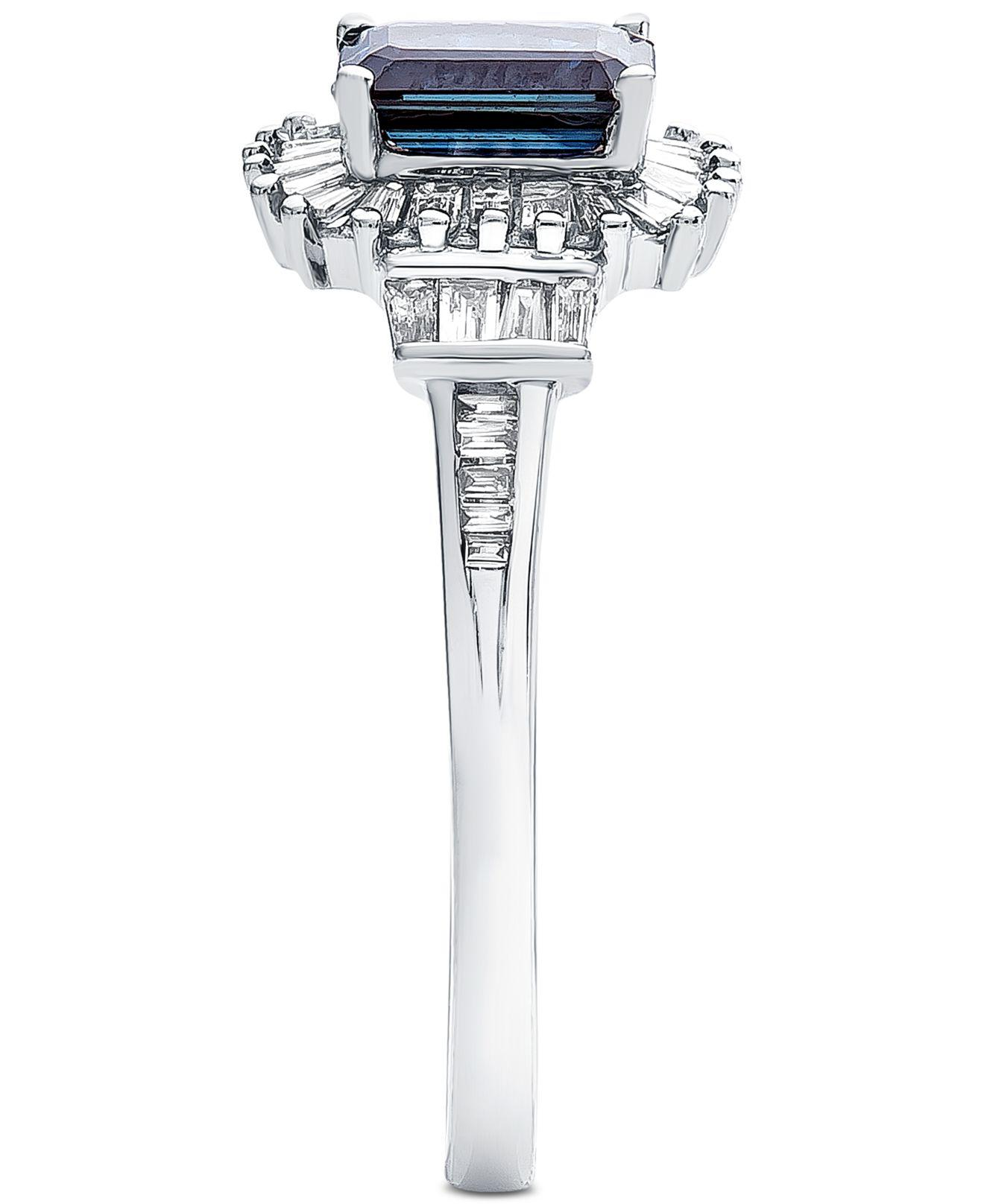 1e6ac7845 Lyst - Macy's Sapphire (1 Ct. T.w.) & Diamond (1/3 Ct. T.w.) In 14k White  Gold