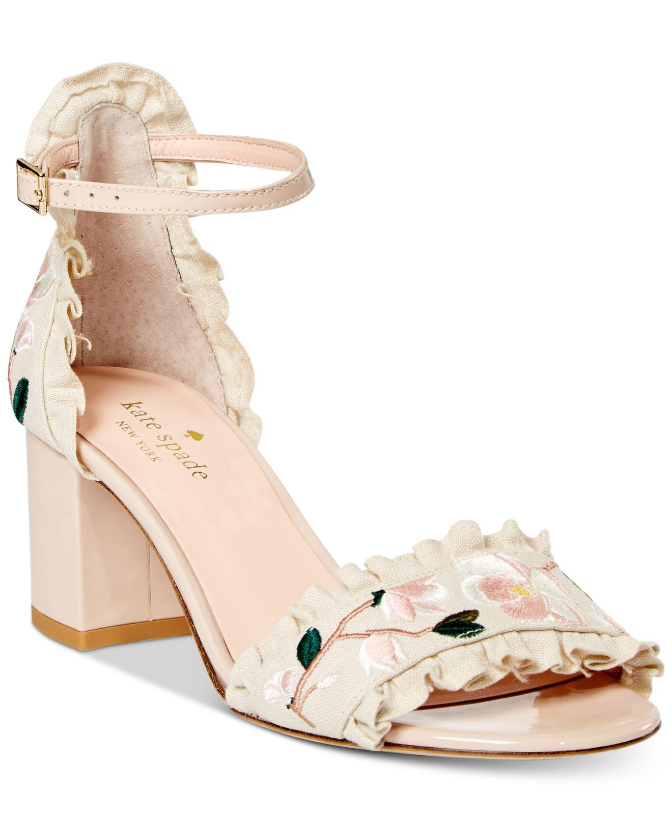 bec9a23edc6c Lyst - Kate Spade Wayne Embroidered Dress Sandals in Natural
