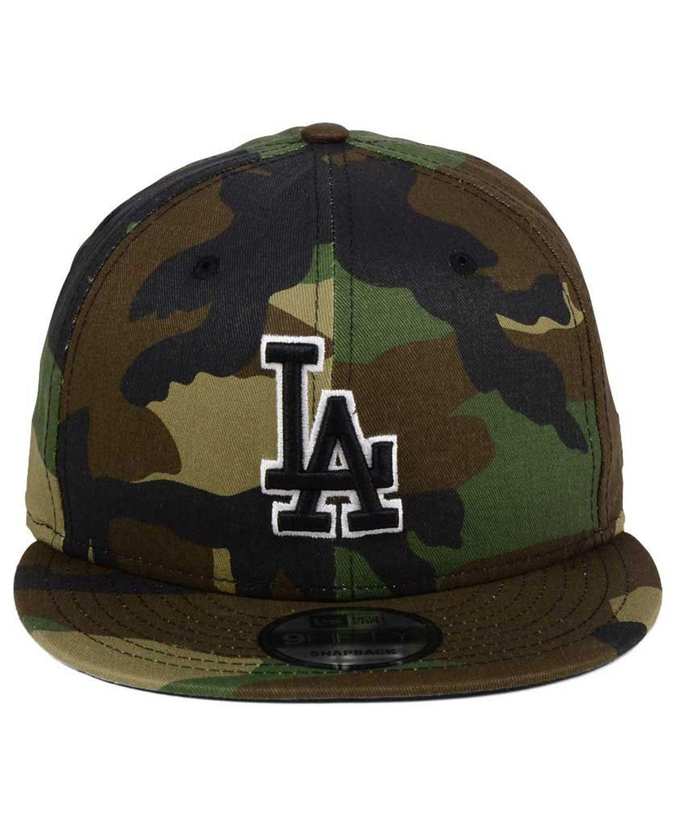 free shipping a8357 6055f ... shopping lyst ktz los angeles dodgers woodland black white 9fifty  snapback cap in black for men