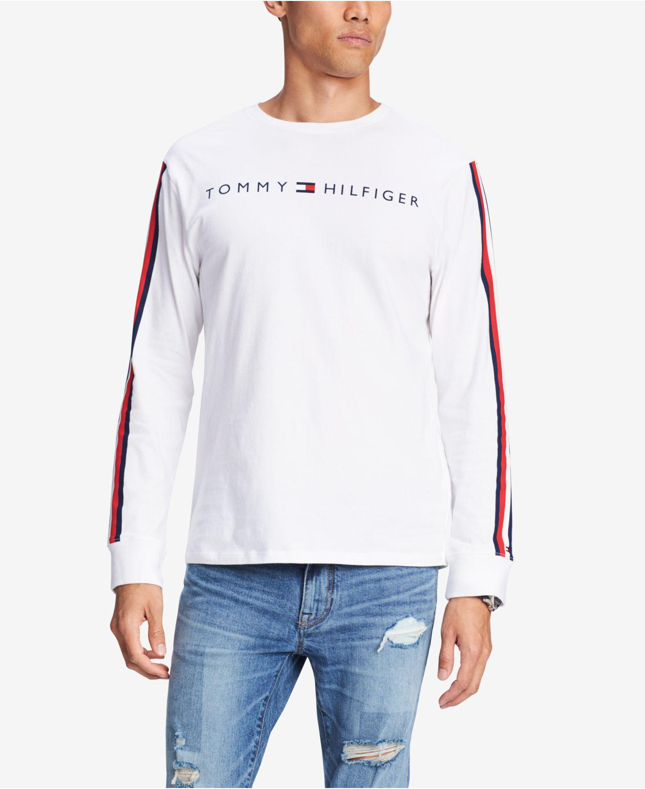 0c7d456afc144b Tommy Hilfiger. Men s White Knox Stripe-sleeve Logo Graphic T-shirt