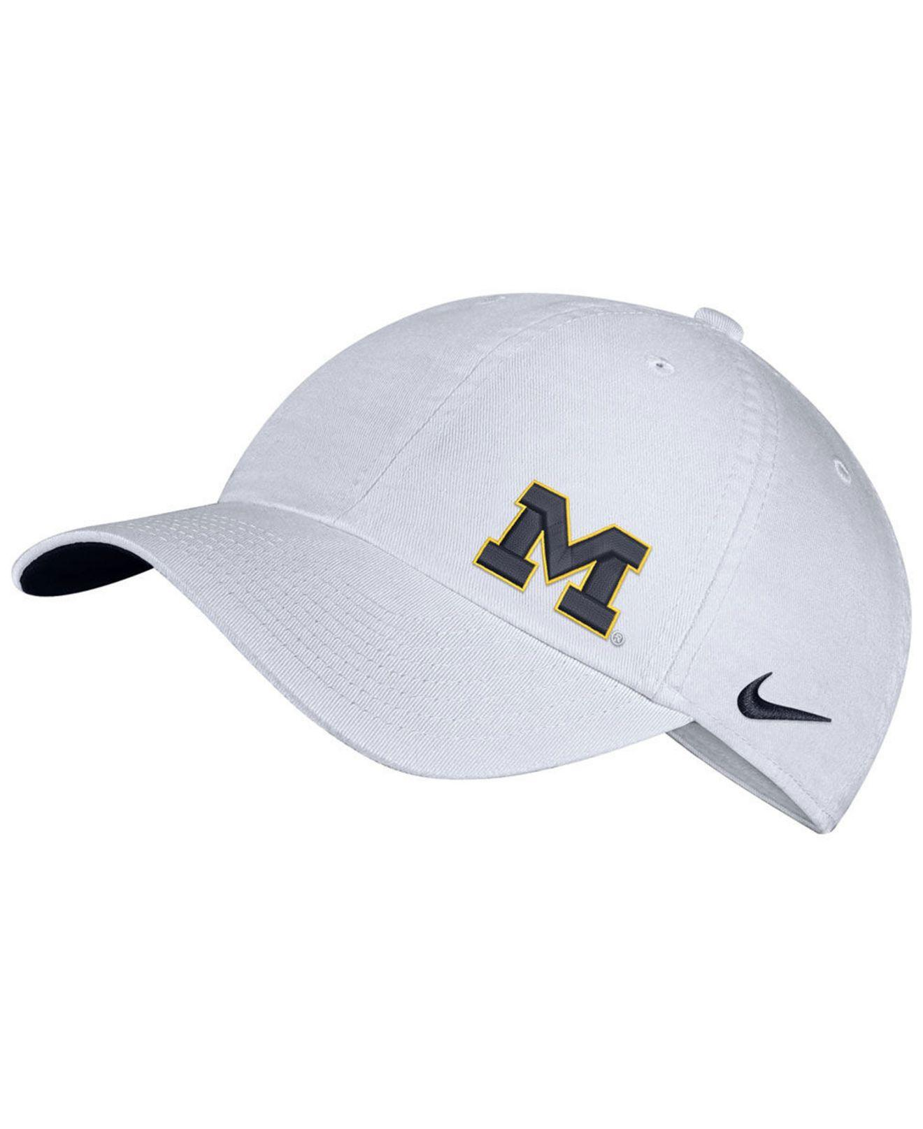 low priced f1caf ed0c6 Lyst - Nike Michigan Wolverines H86 Offset Strapback Cap in White
