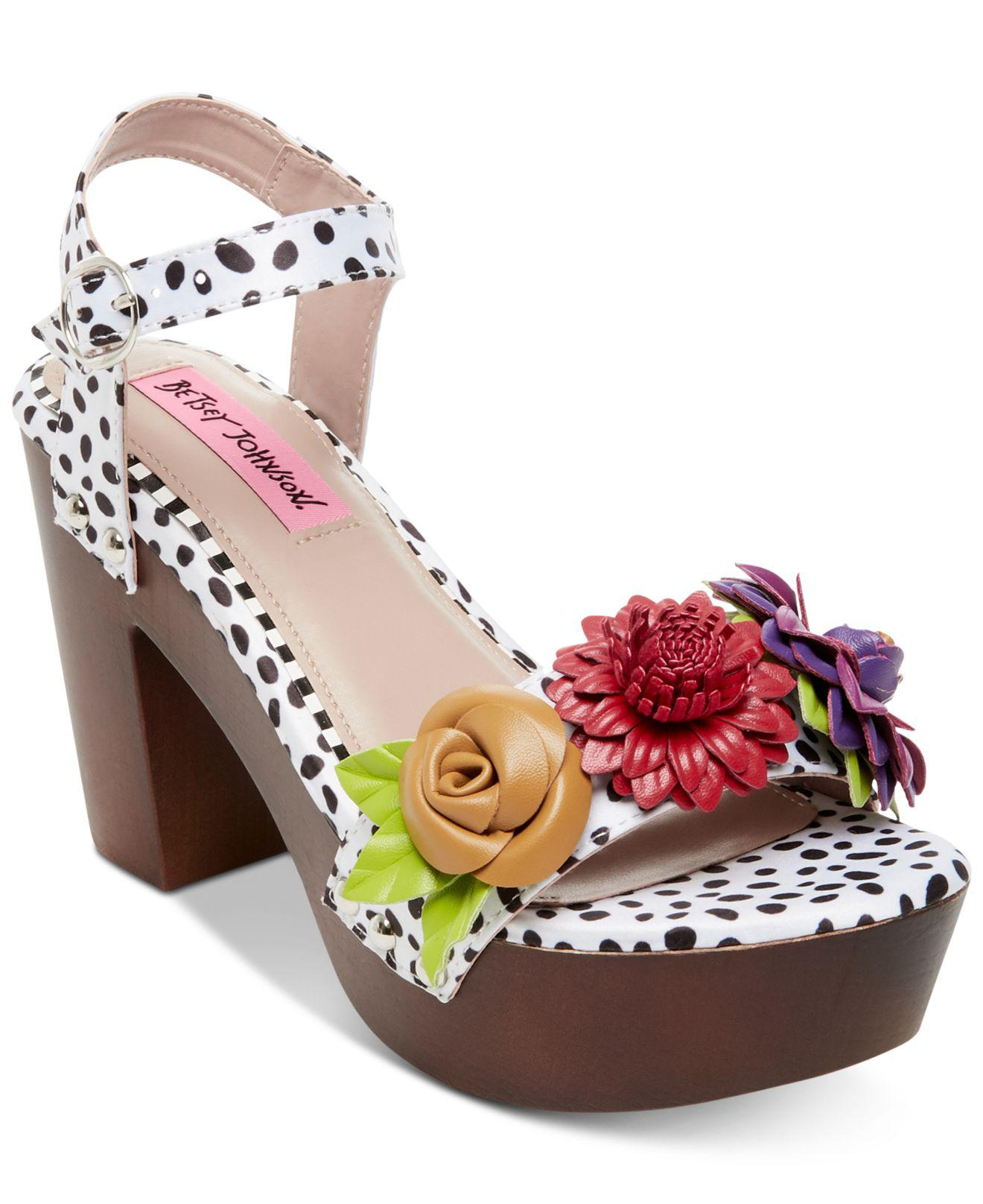 475a2456499e Lyst - Betsey Johnson Rosee Flower Wood Clog Sandals