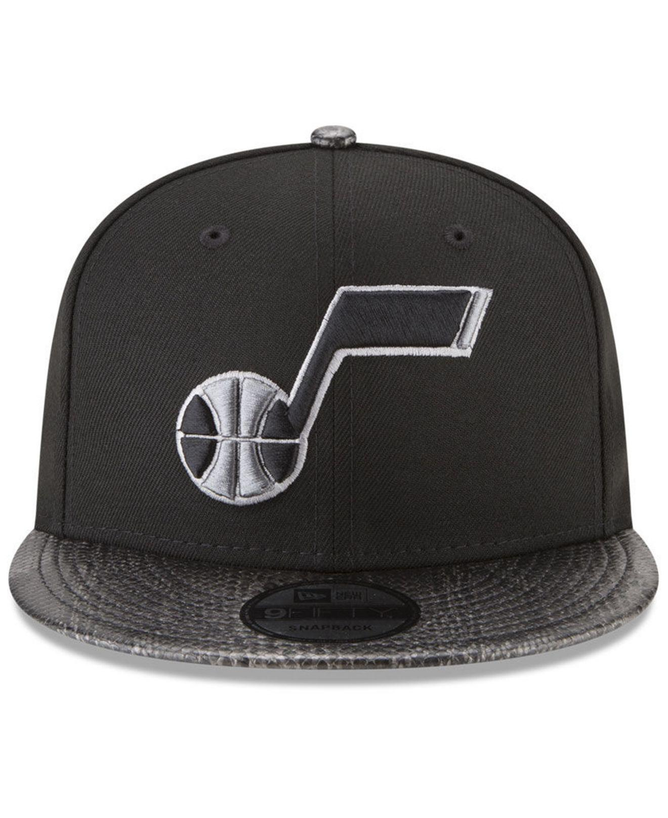 new style 4926e 747b6 ... sweden lyst ktz utah jazz snakeskin sleek 9fifty snapback cap in black  for men 05f17 75c49