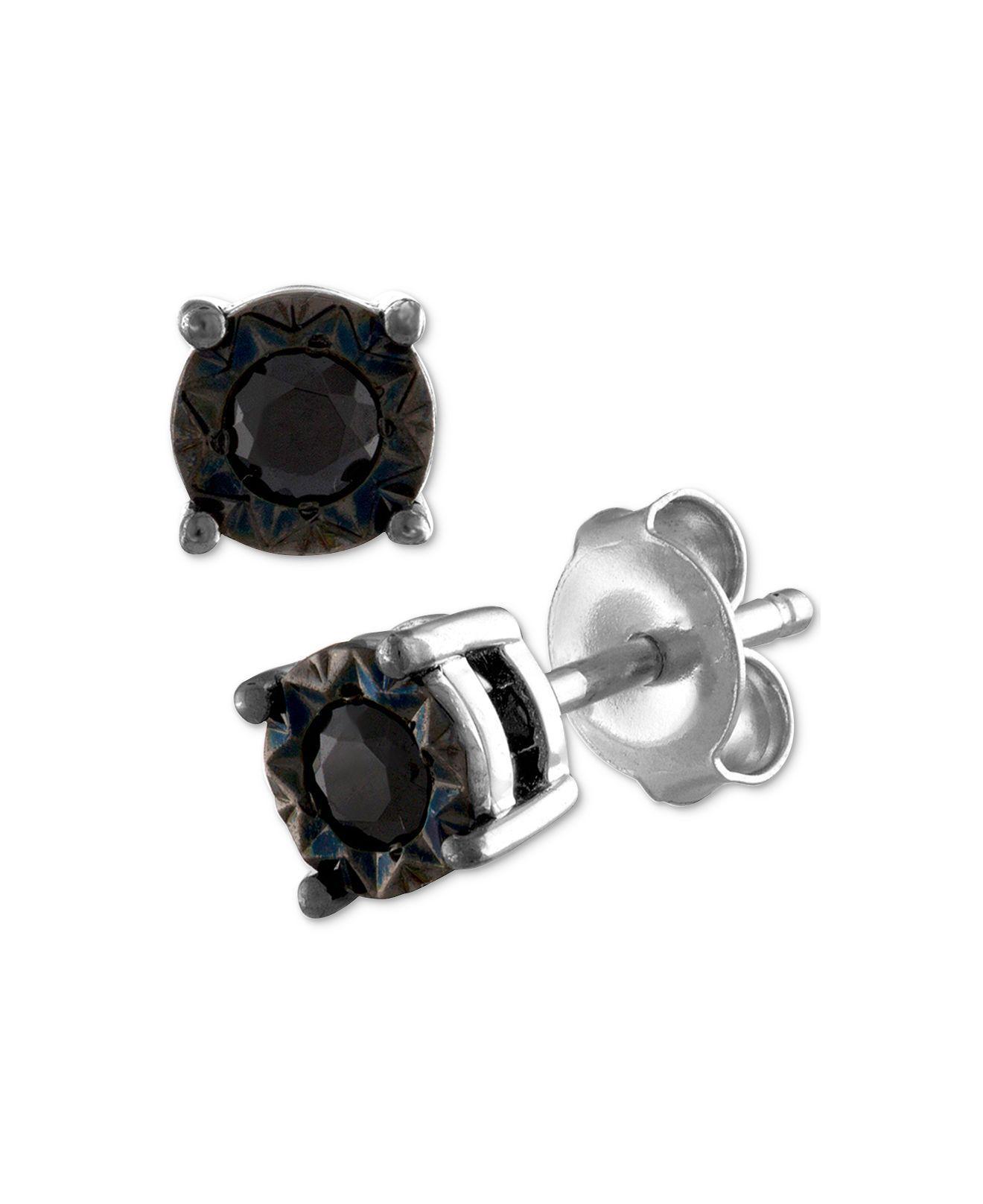 Macy S Women Metallic Black Diamond Stud Earrings