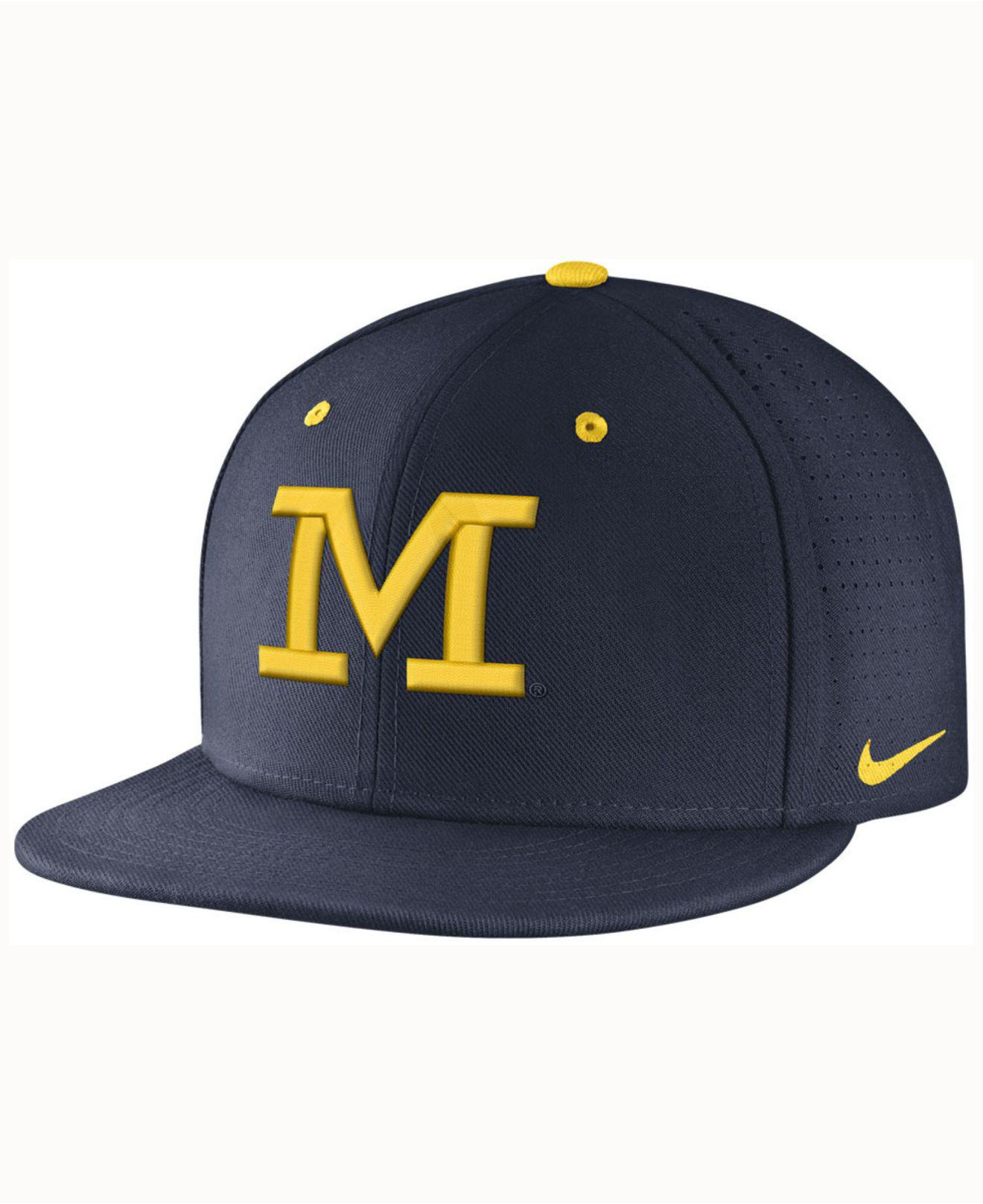 the latest 4490d 03cfa ... where to buy nike. mens blue michigan wolverines true vapor fitted cap  fb74f bc480