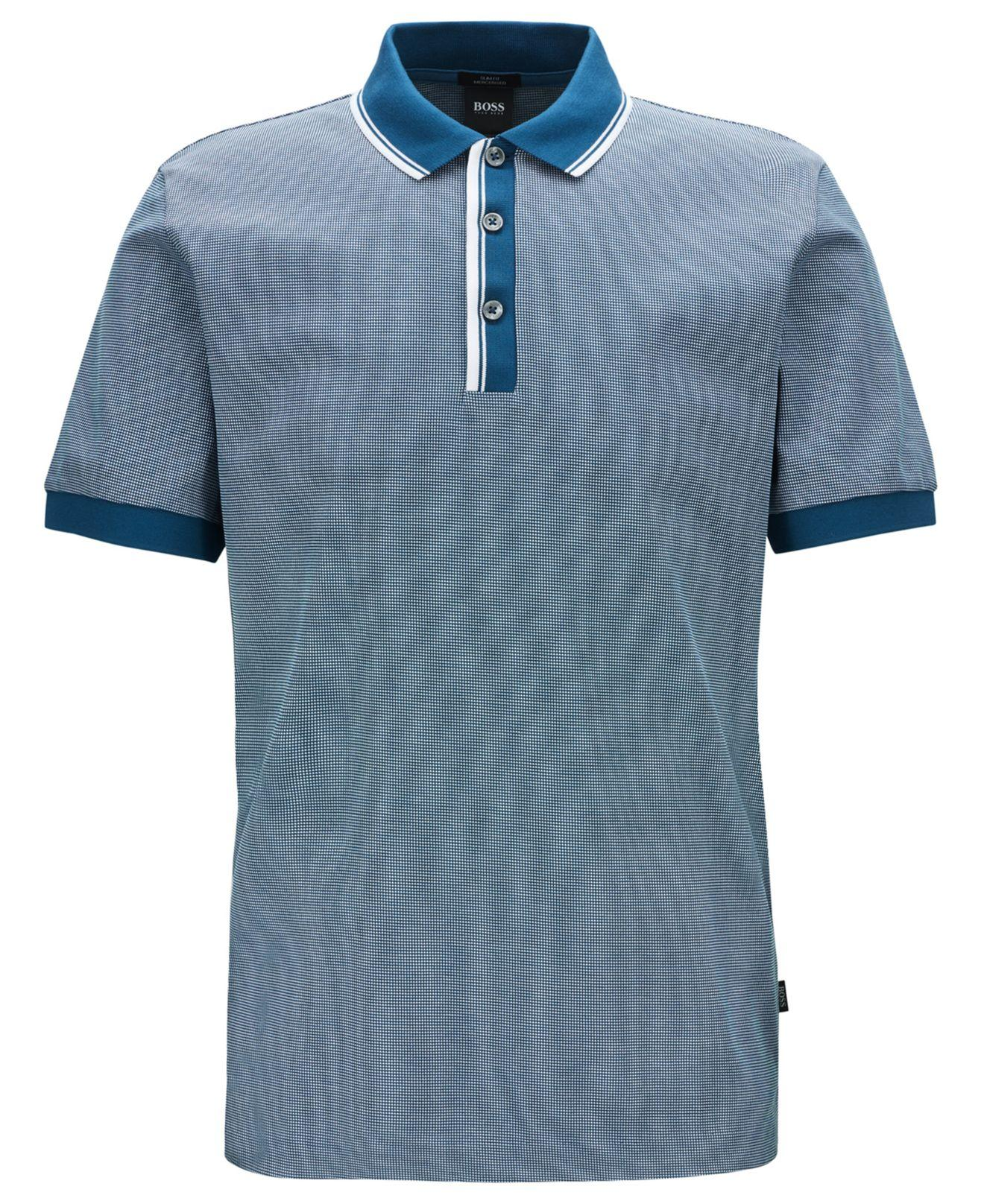 91bbd8f6b BOSS Phillipson 57 Slim-fit Cotton Polo Shirt in Blue for Men - Lyst
