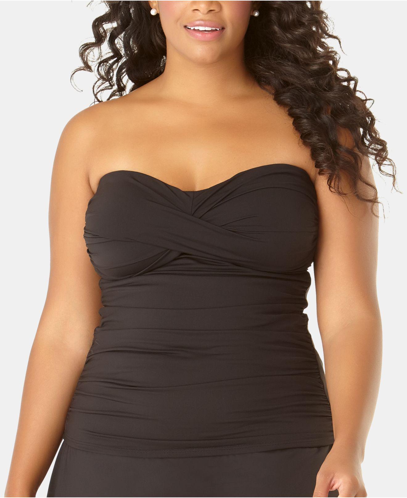 8325a0d746 Anne Cole. Women's Black Plus Size Live In Color Twist-front Bandeau  Tankini Top