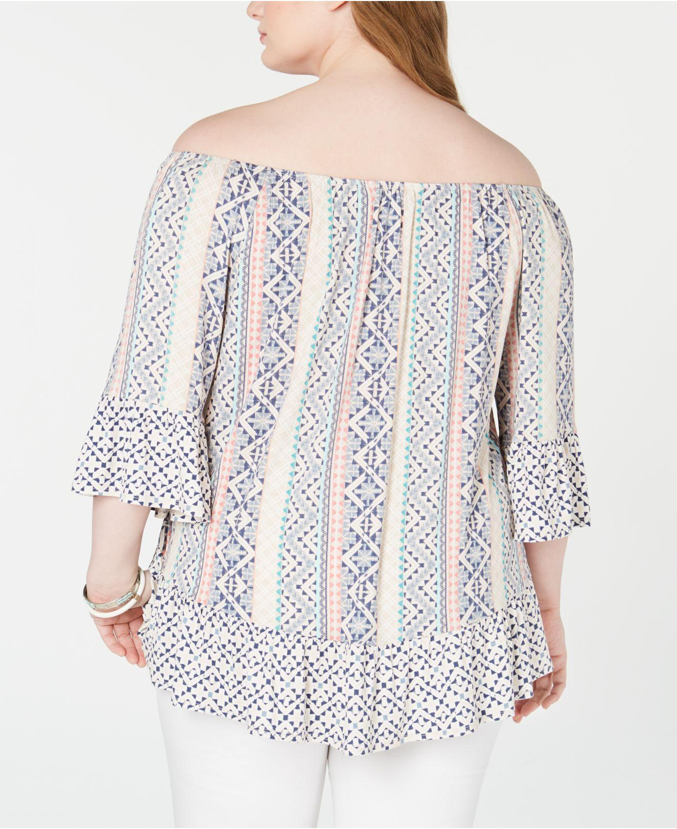d5d107b6f1bf8e Lyst - Style   Co. Plus Size Printed Off-the-shoulder Top