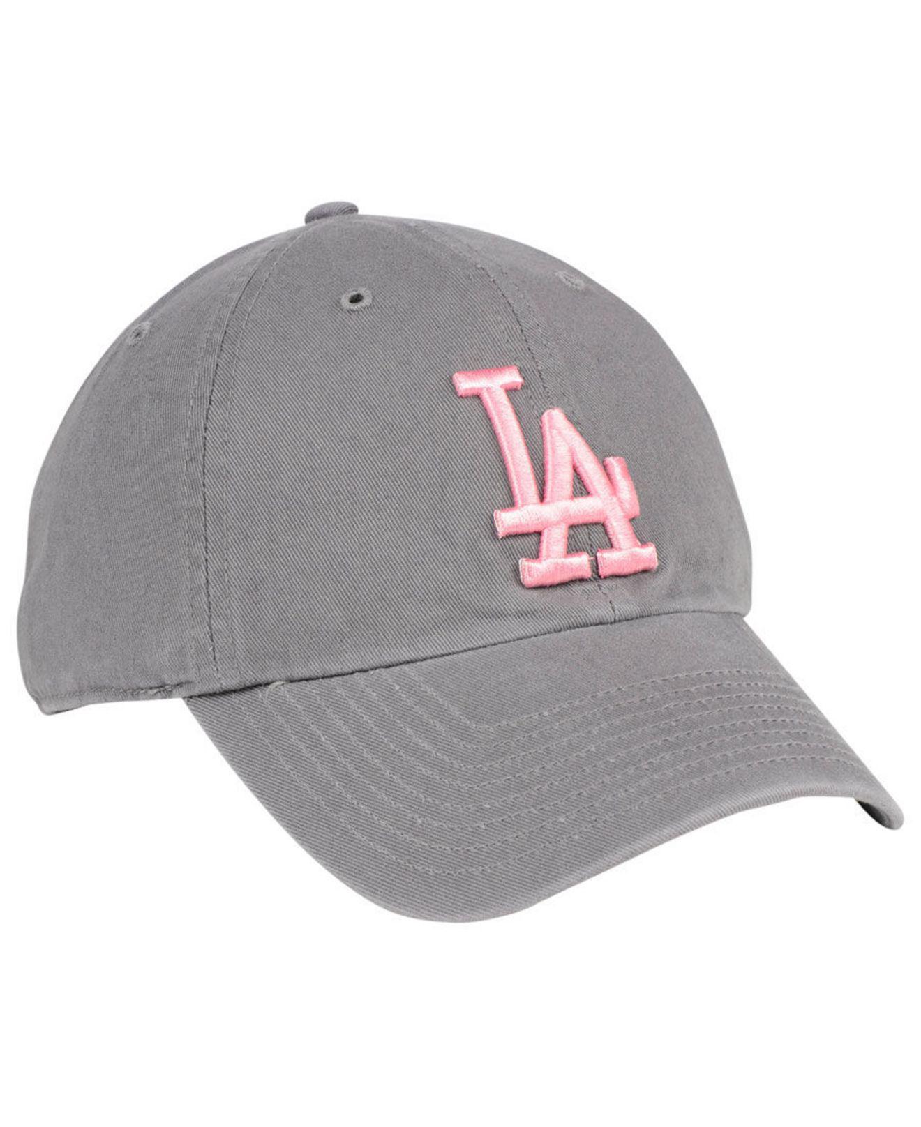 quality design 45cfa 962c1 47 Brand - Los Angeles Dodgers Dark Gray Pink Clean Up Cap - Lyst. View  fullscreen