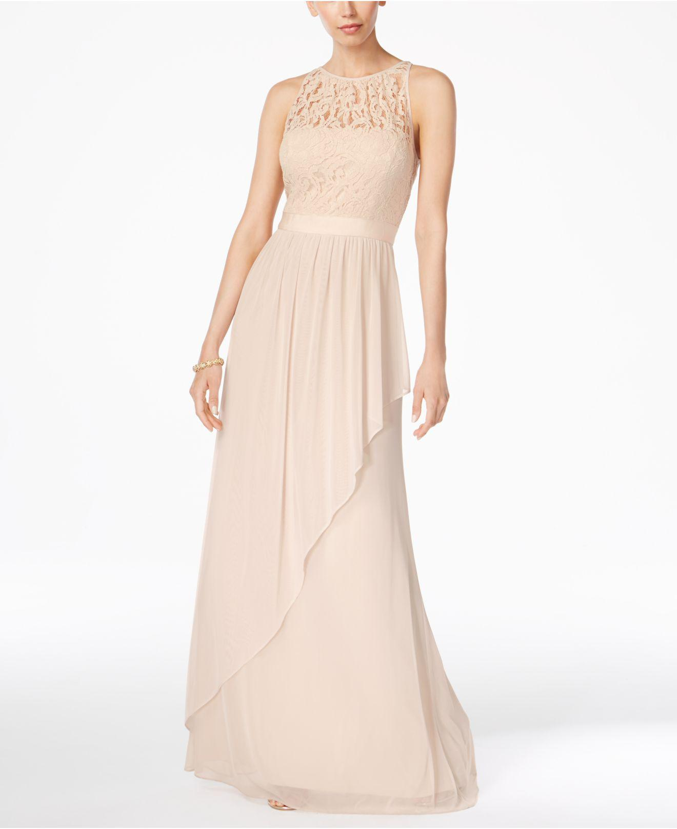 7bb3bace7f74 Lyst - Adrianna Papell Lace Illusion Halterneck Gown in Natural