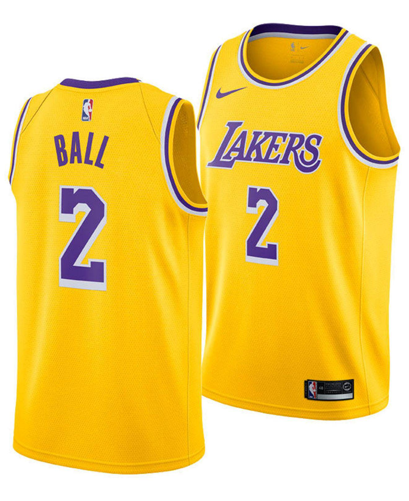 5ac724f44 Nike. Men s Metallic Lonzo Ball Los Angeles Lakers Icon Swingman Jersey