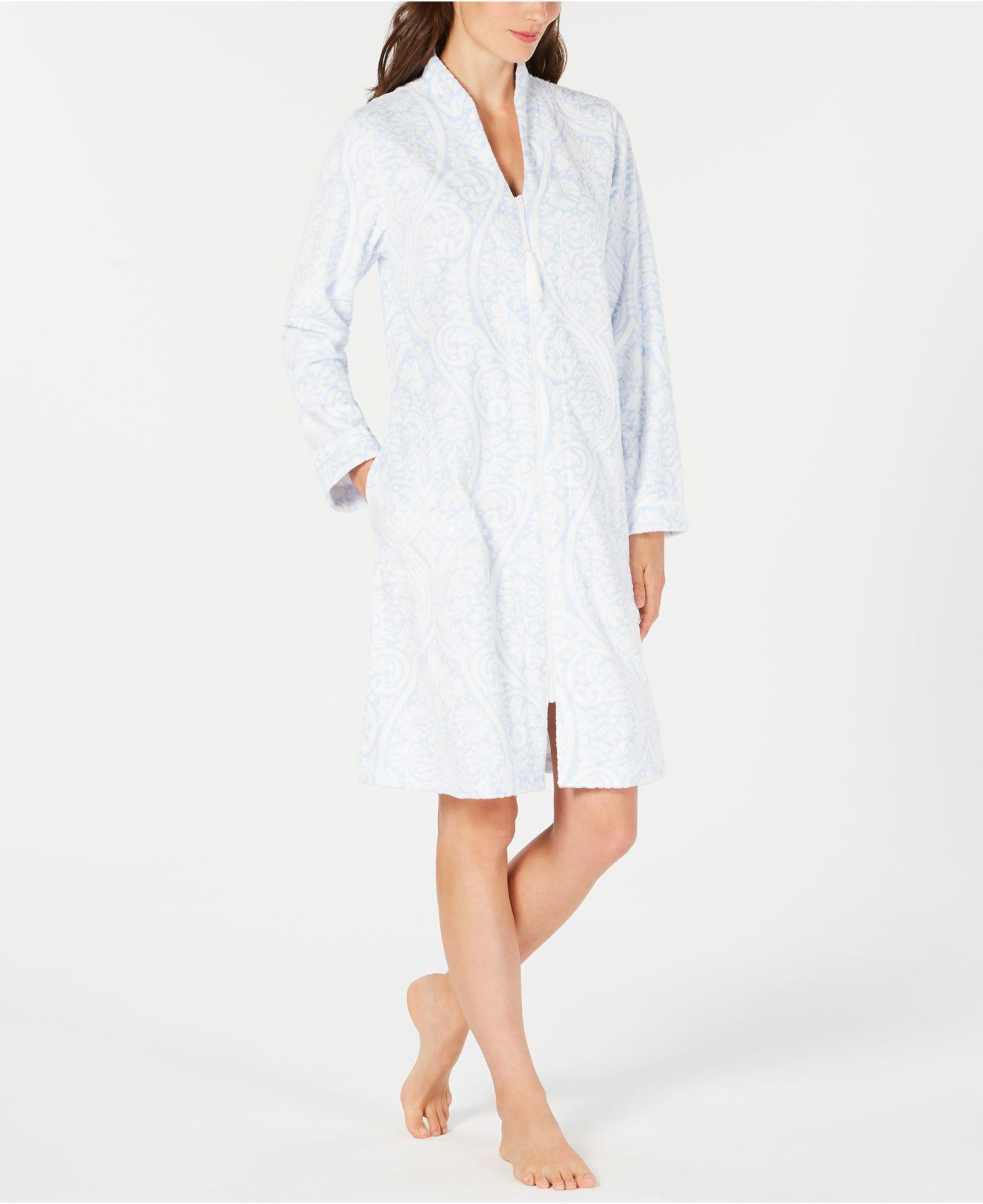 6ef1d984f0 Charter Club. Women s White Printed Zip-front Short Robe ...