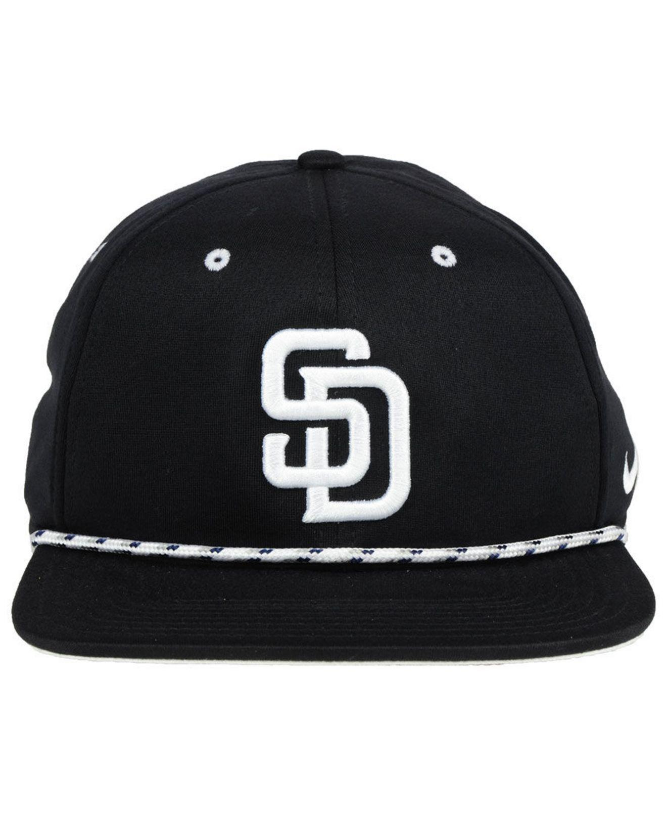 c6f29370 ... reduced lyst nike san diego padres string bill snapback cap in black  for men 8ee8b b60ed