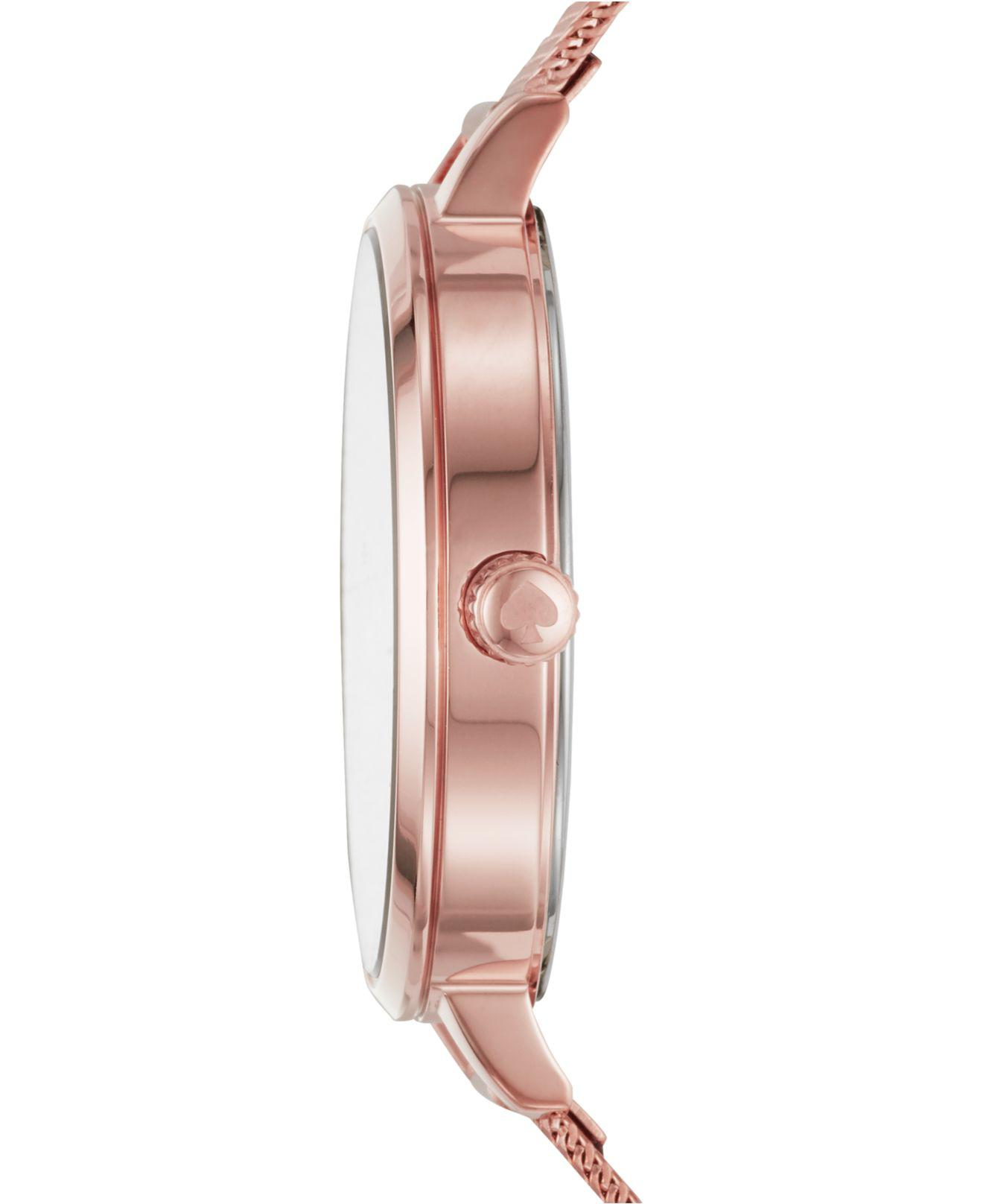 b0e863fa9ad Lyst - Kate Spade Metro Pink Gold-tone Stainless Steel Mesh Bracelet Watch  34mm in Pink