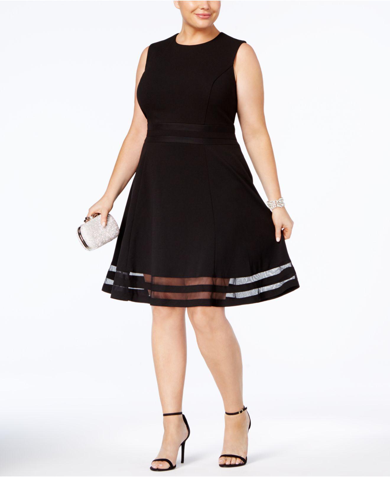 2ff3b4e0 Calvin Klein Plus Size Illusion-trim Fit & Flare Dress in Black - Lyst