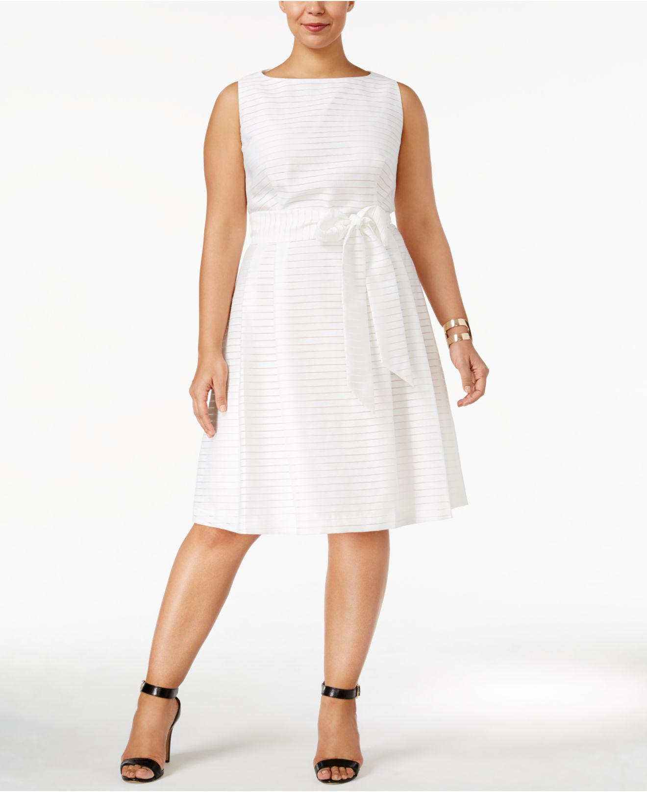 039ddba8fcf Lyst - Anne Klein Plus Size Shadow-striped Fit   Flare Dress in White