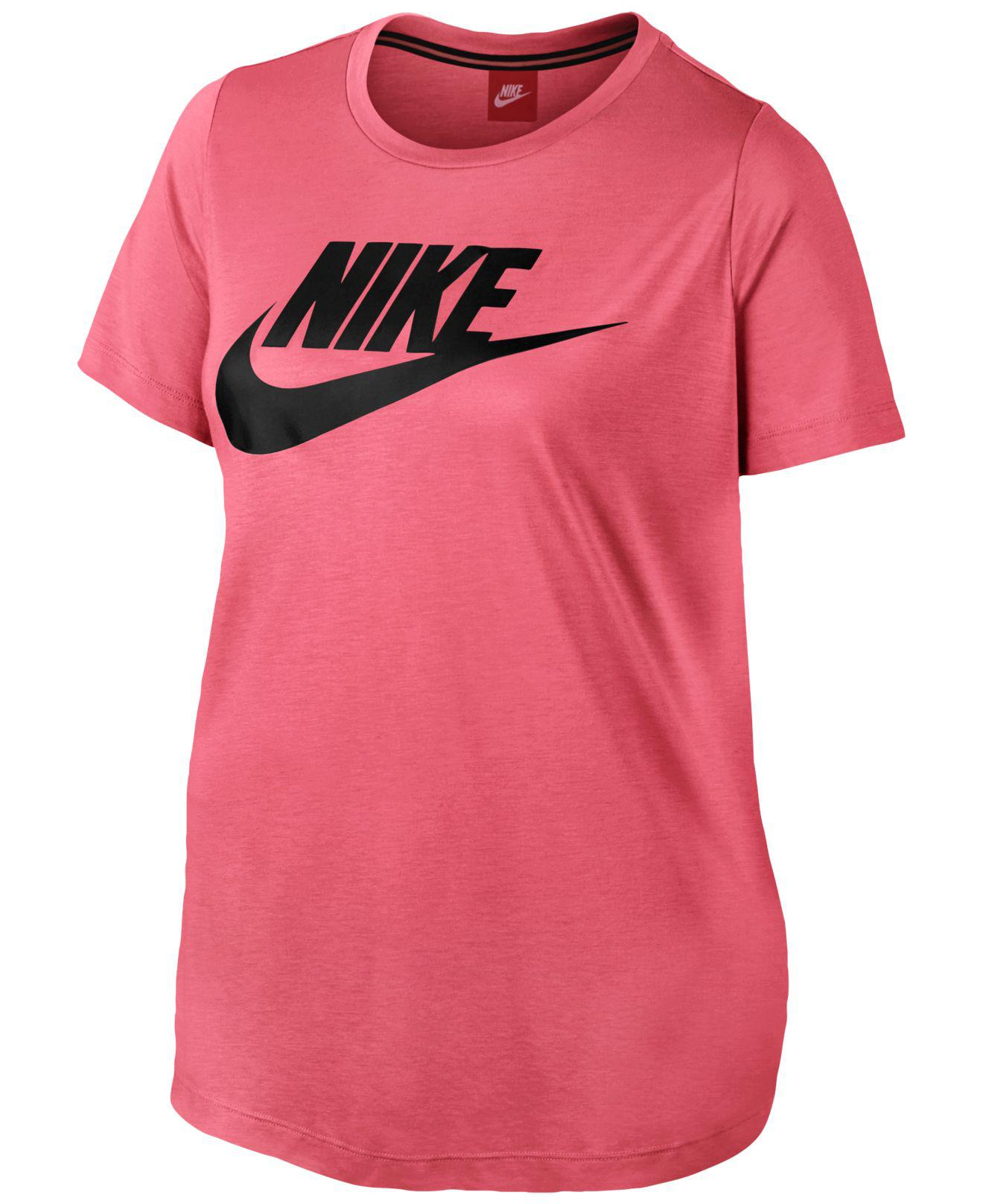 aba9f8c7908 Lyst - Nike Plus Size Futura Logo T-shirt in Pink